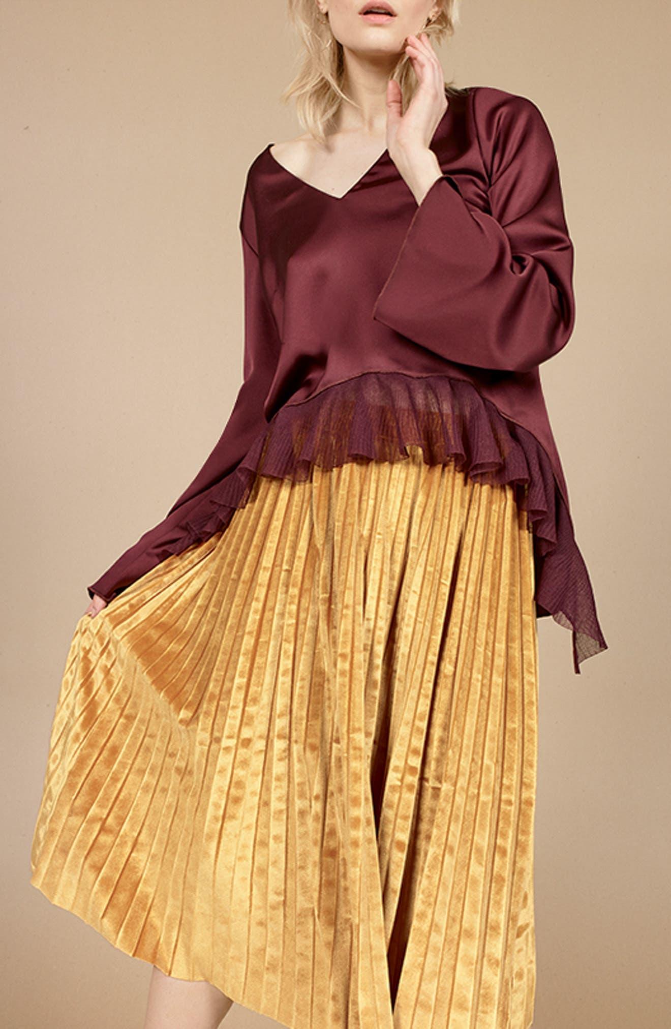 Alternate Image 2  - Chelsea28 Pleated Velvet Skirt