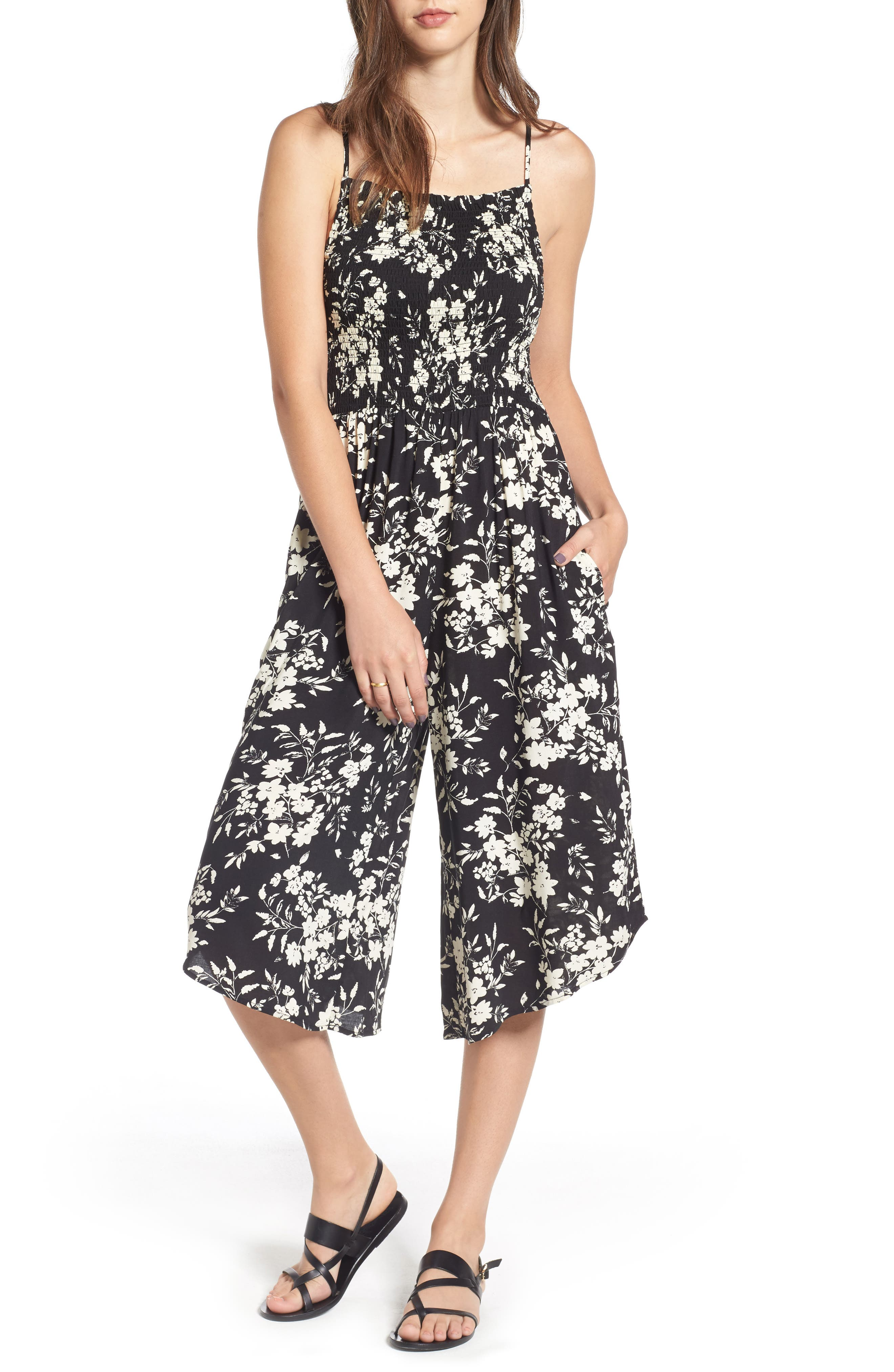Alternate Image 1 Selected - Mimi Chica Smocked Floral Jumpsuit