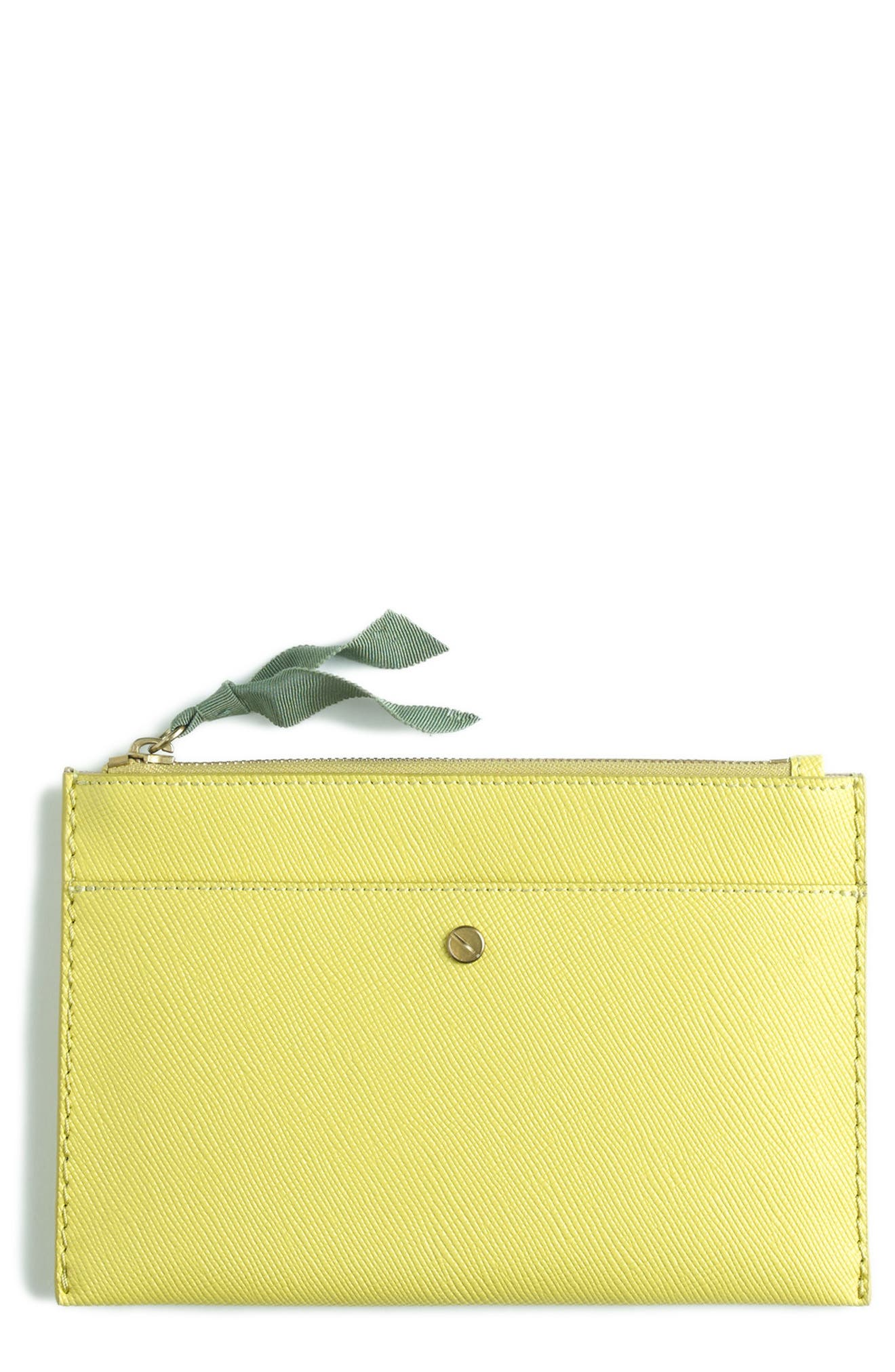 J.Crew Medium Leather Zip Top Pouch