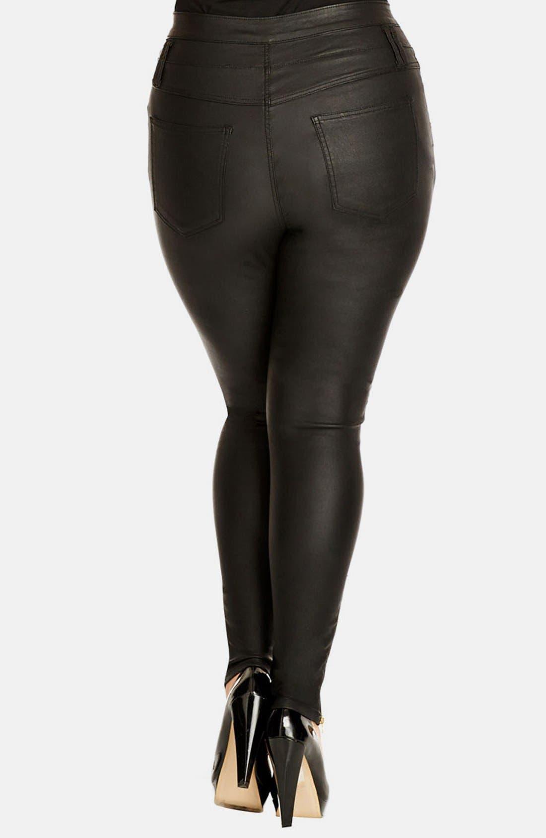 Alternate Image 2  - City Chic 'Pick Me Up' Stretch Skinny Jeans (Black) (Plus Size)