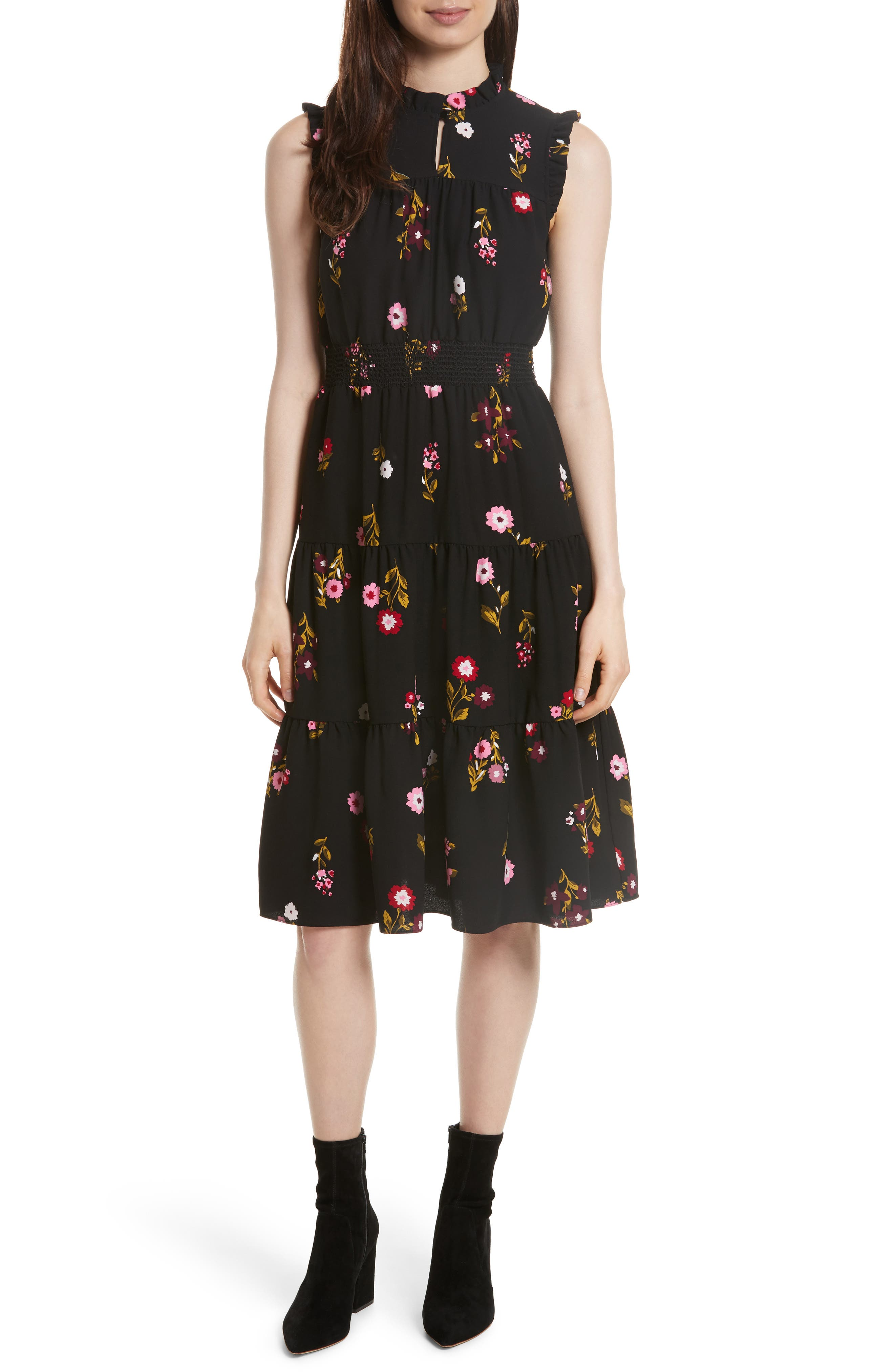 kate spade new york in bloom smocked waist dress