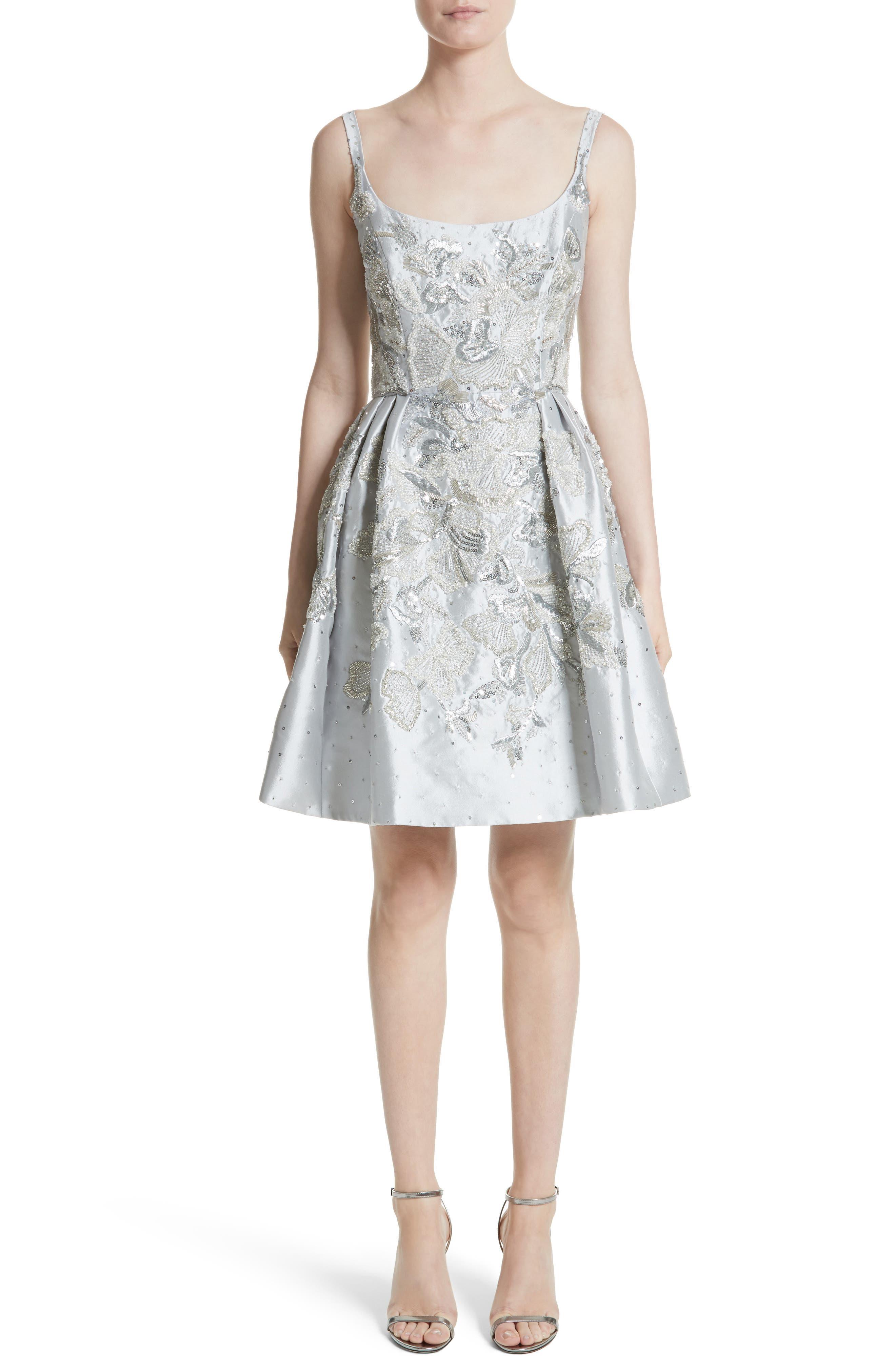 Marchesa Embellished Silk Blend Party Dress