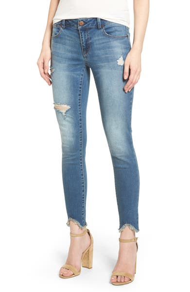 Main Image - 1822 Ripped Raw Edge Skinny Jeans (Greg)