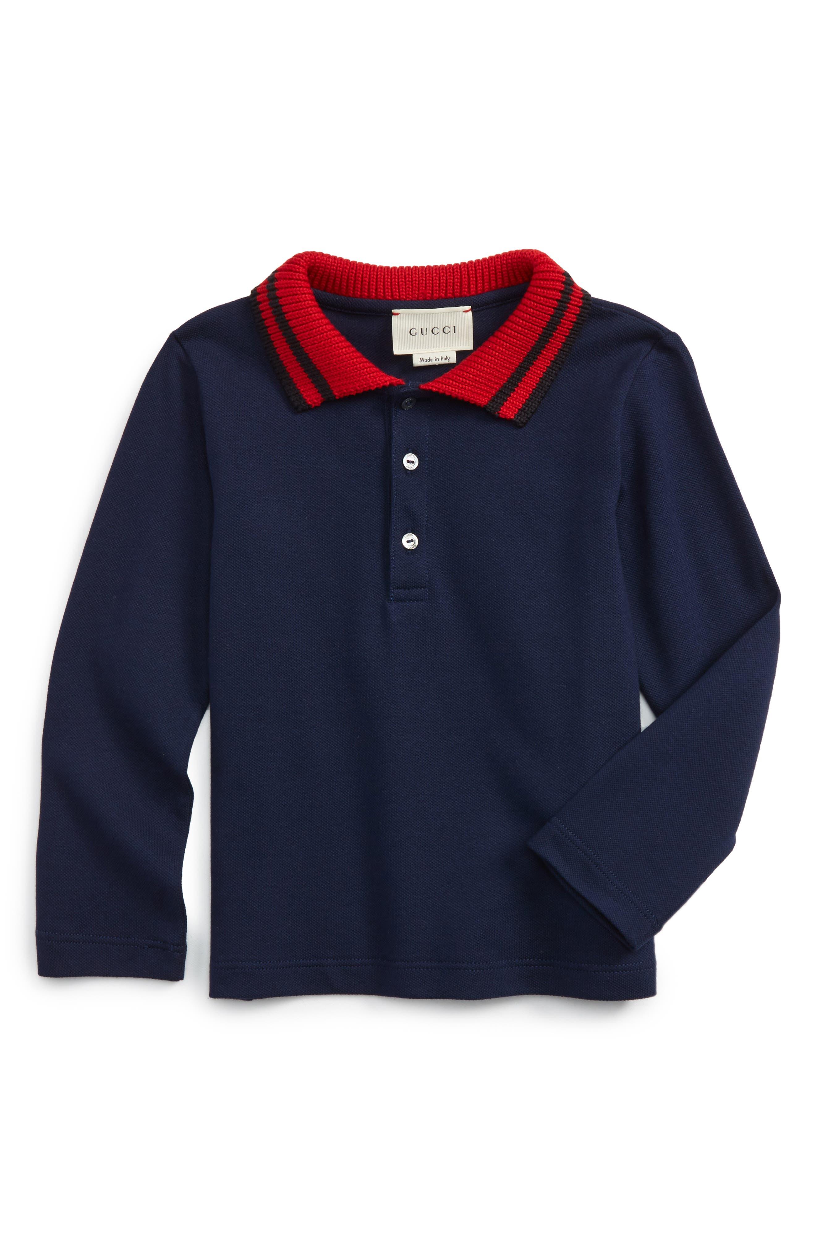 Gucci Stripe Collar Long Sleeve Polo (Baby Boys & Toddler Boys)