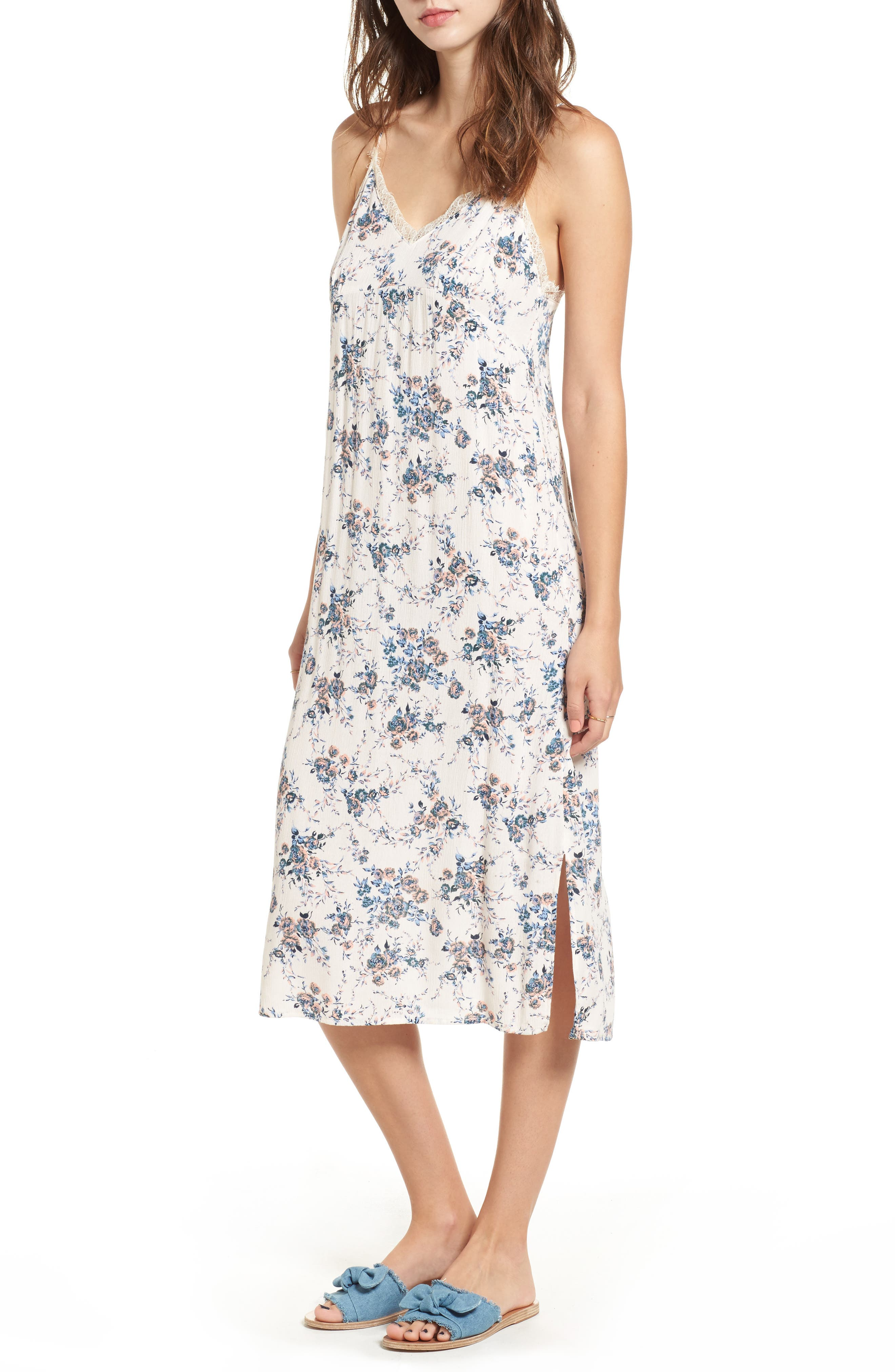 Lush Lace Trim Floral Print Slipdress