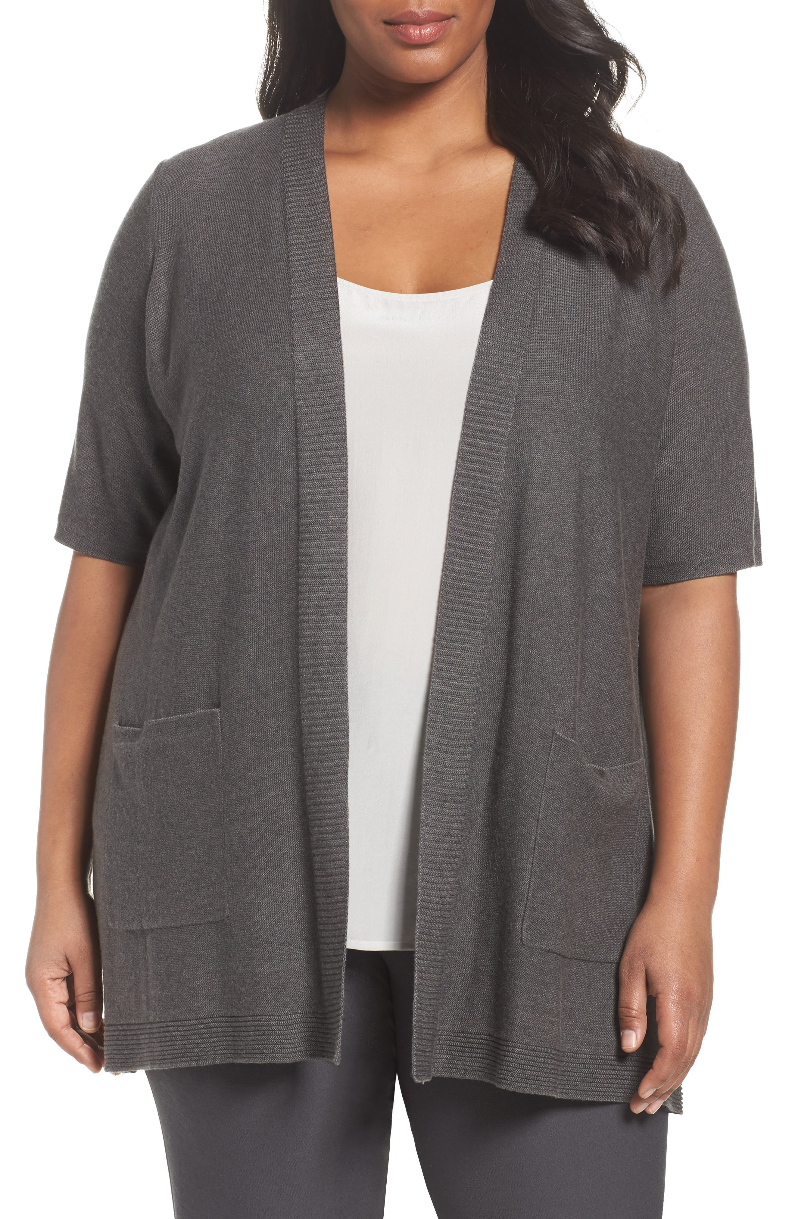 Eileen Fisher Simple Tencel® & Merino Wool Cardigan (Plus Size)