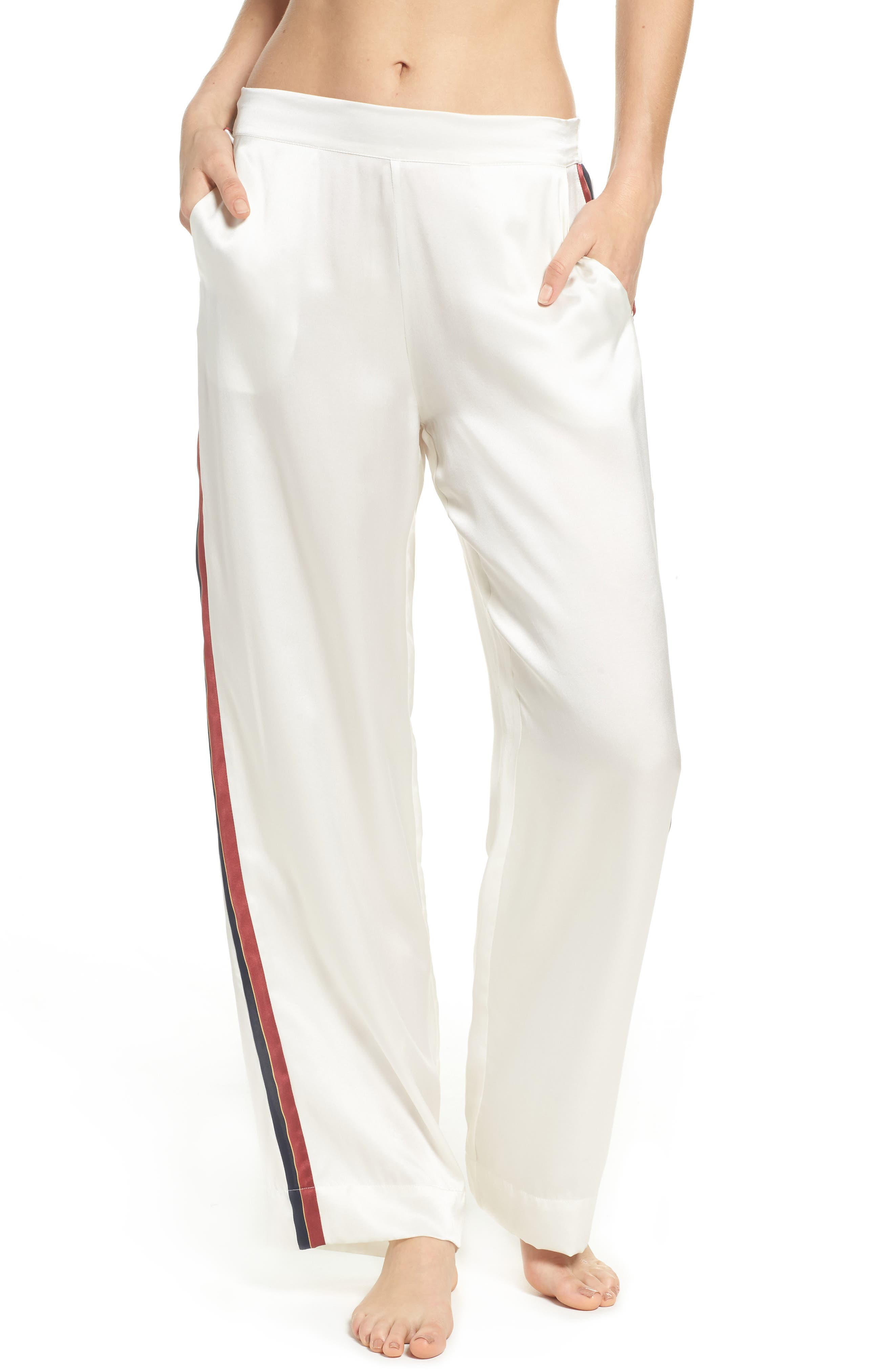 Asceno by Beautiful Bottoms Side Stripe Silk Pajama Pants