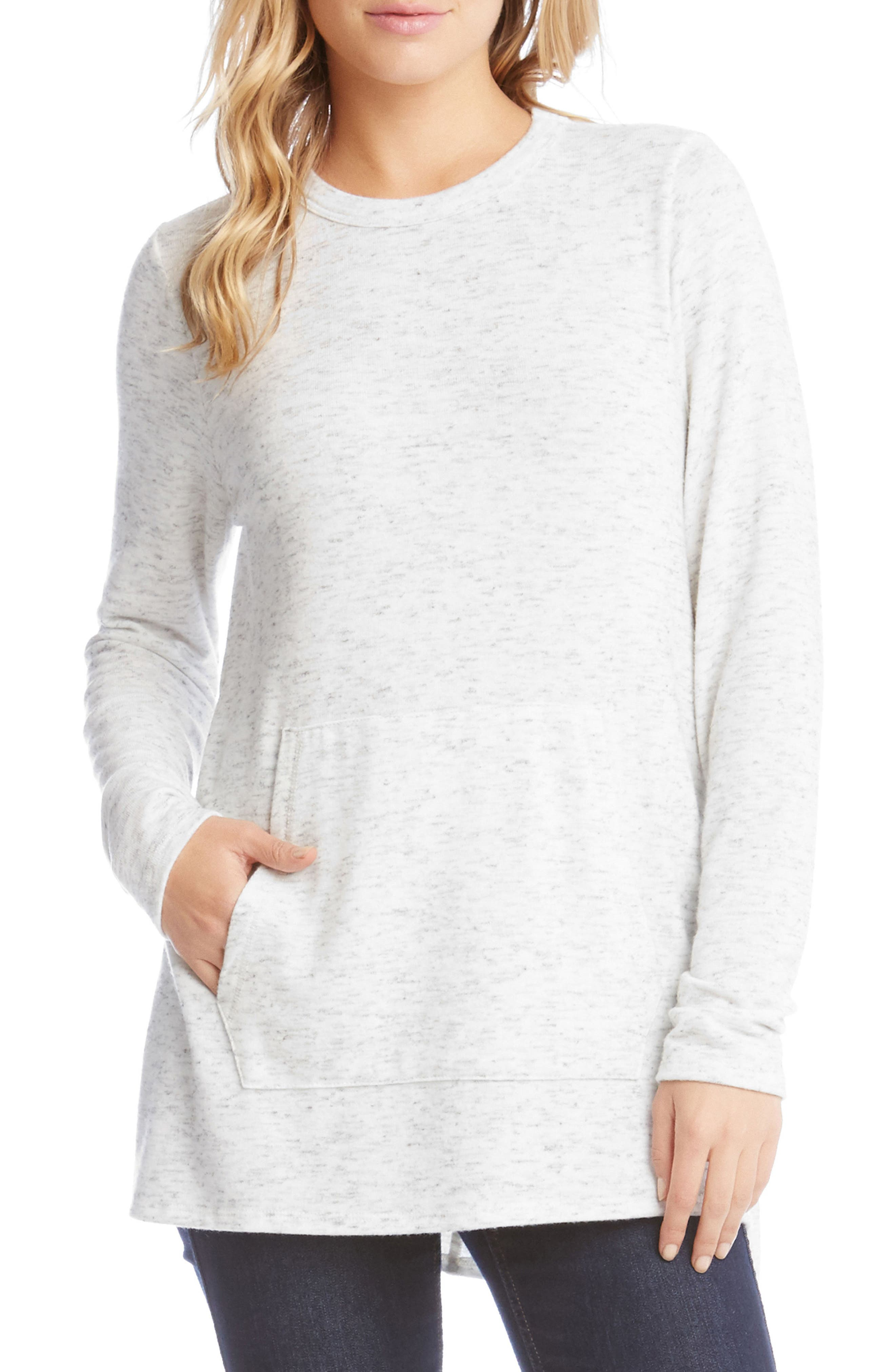 Karen Kane Side Slit Fleece Knit Top
