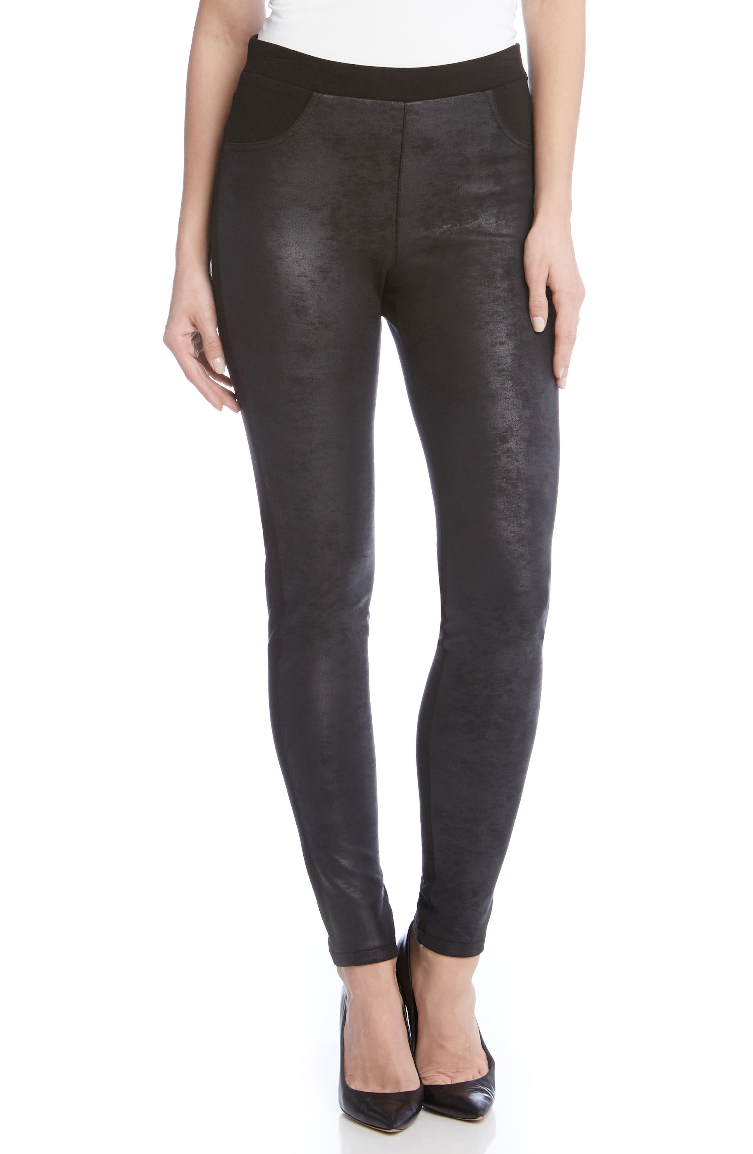 Karen Kane Faux Leather Front Skinny Pants