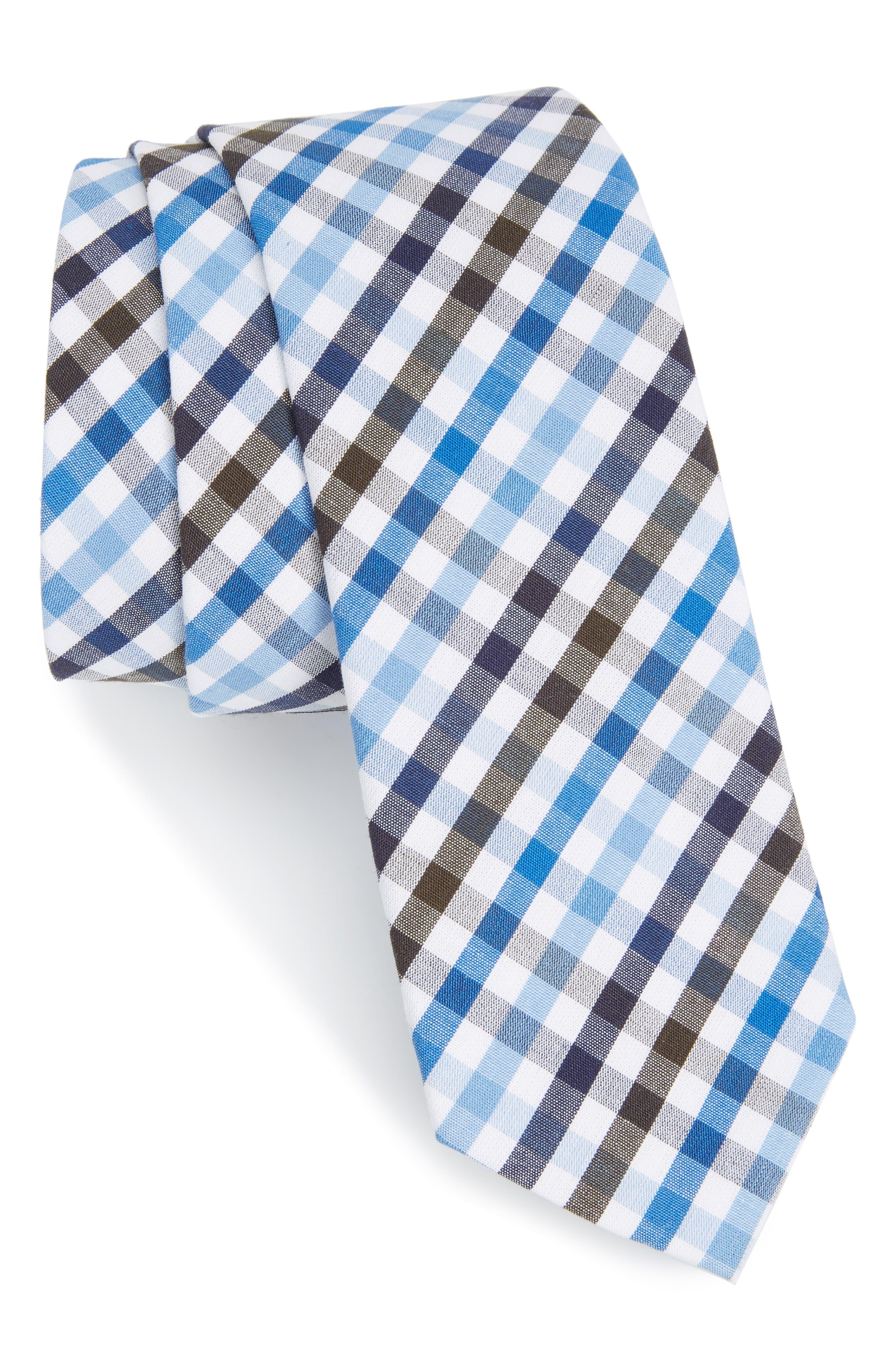 Nordstrom Men's Shop Charlie Plaid Cotton Skinny Tie