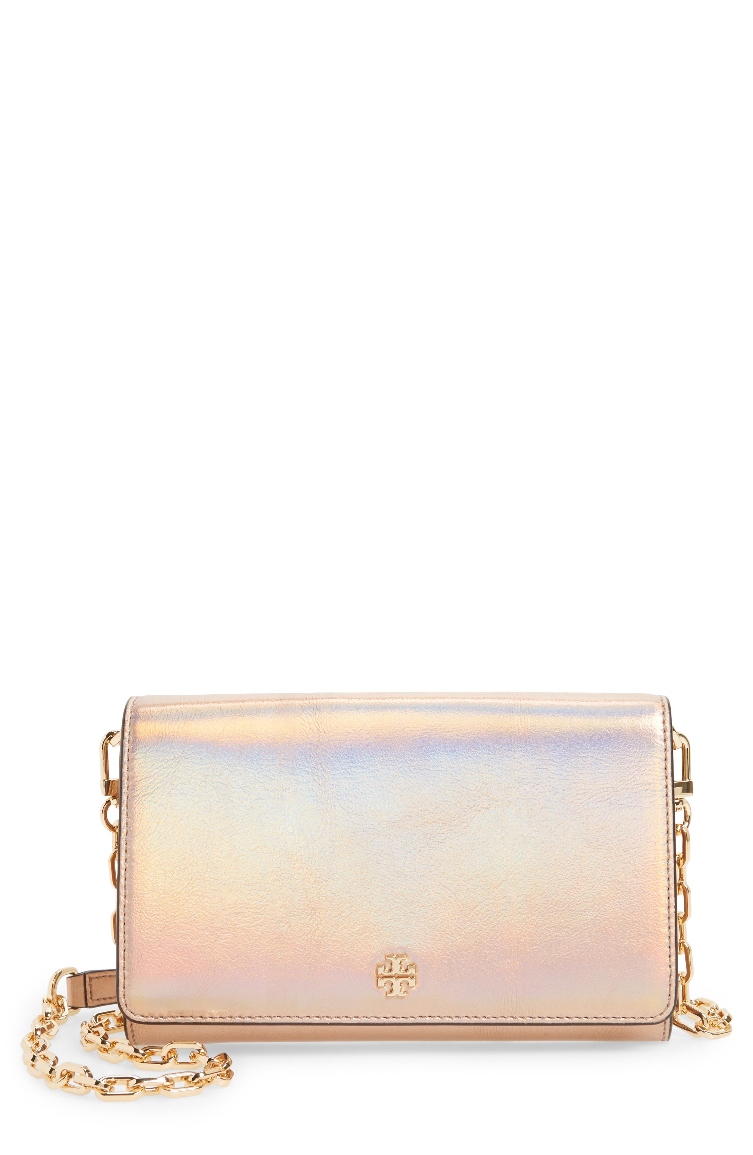 Tory Burch Robinson Metallic Leather Wallet on a Chain
