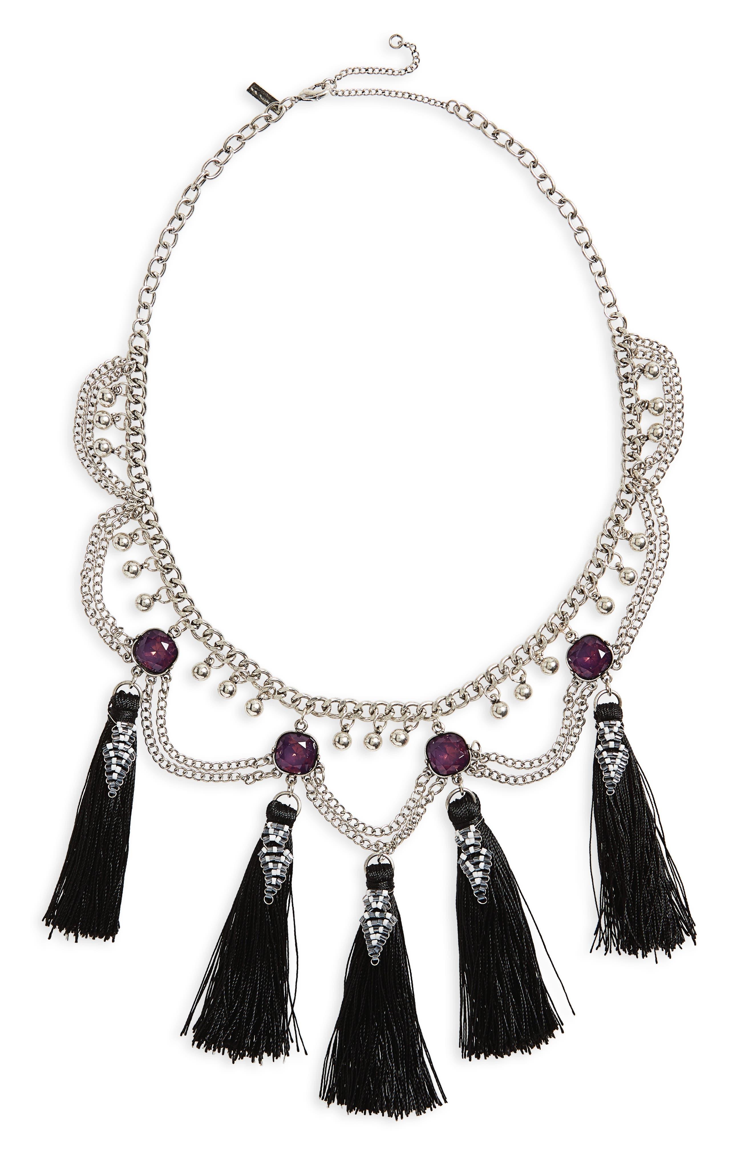 Topshop Mega Tassel Drop Collar Necklace