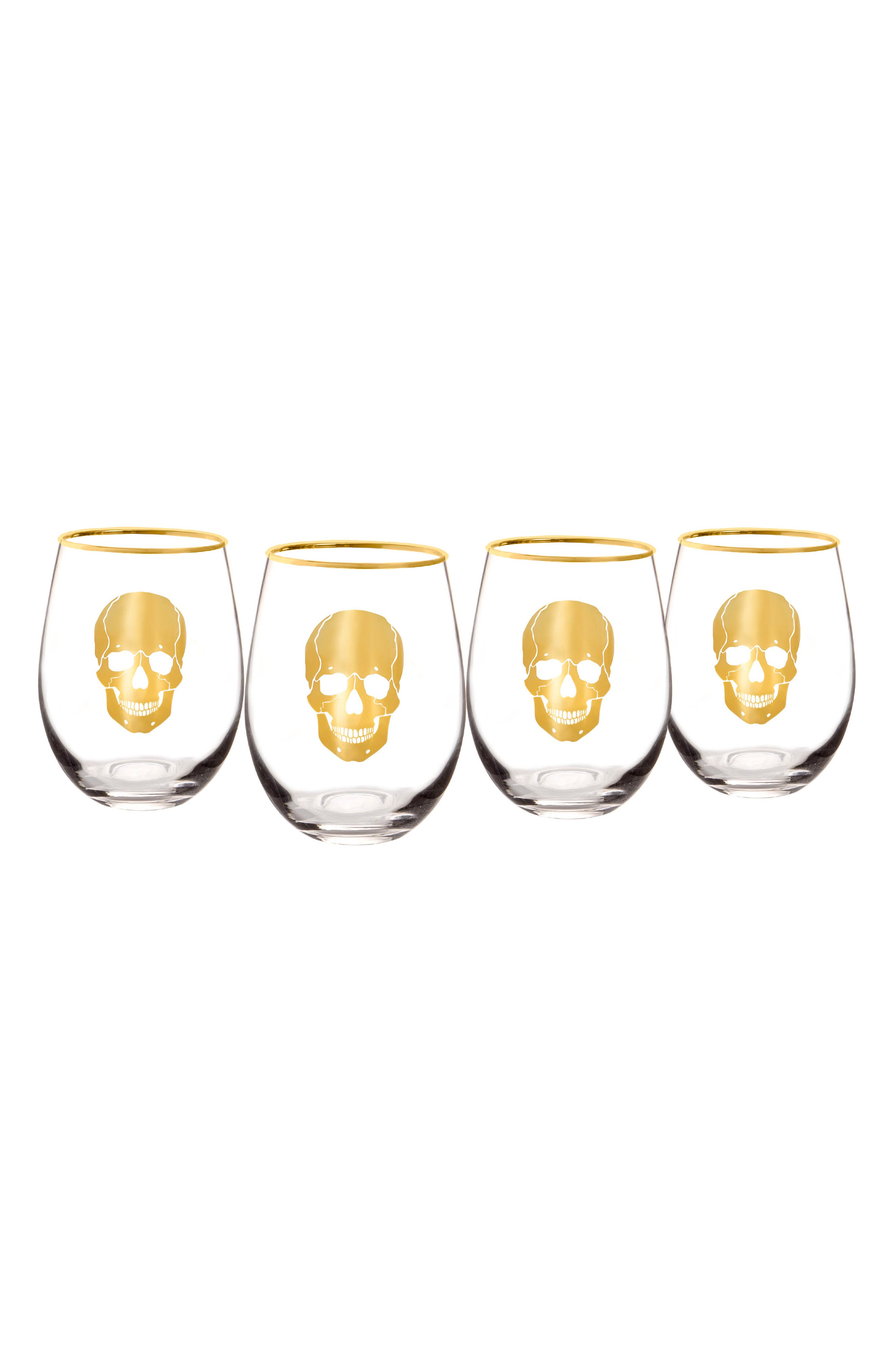 Cathy's Concepts Skull Set of 4 Stemless Wine Glasses