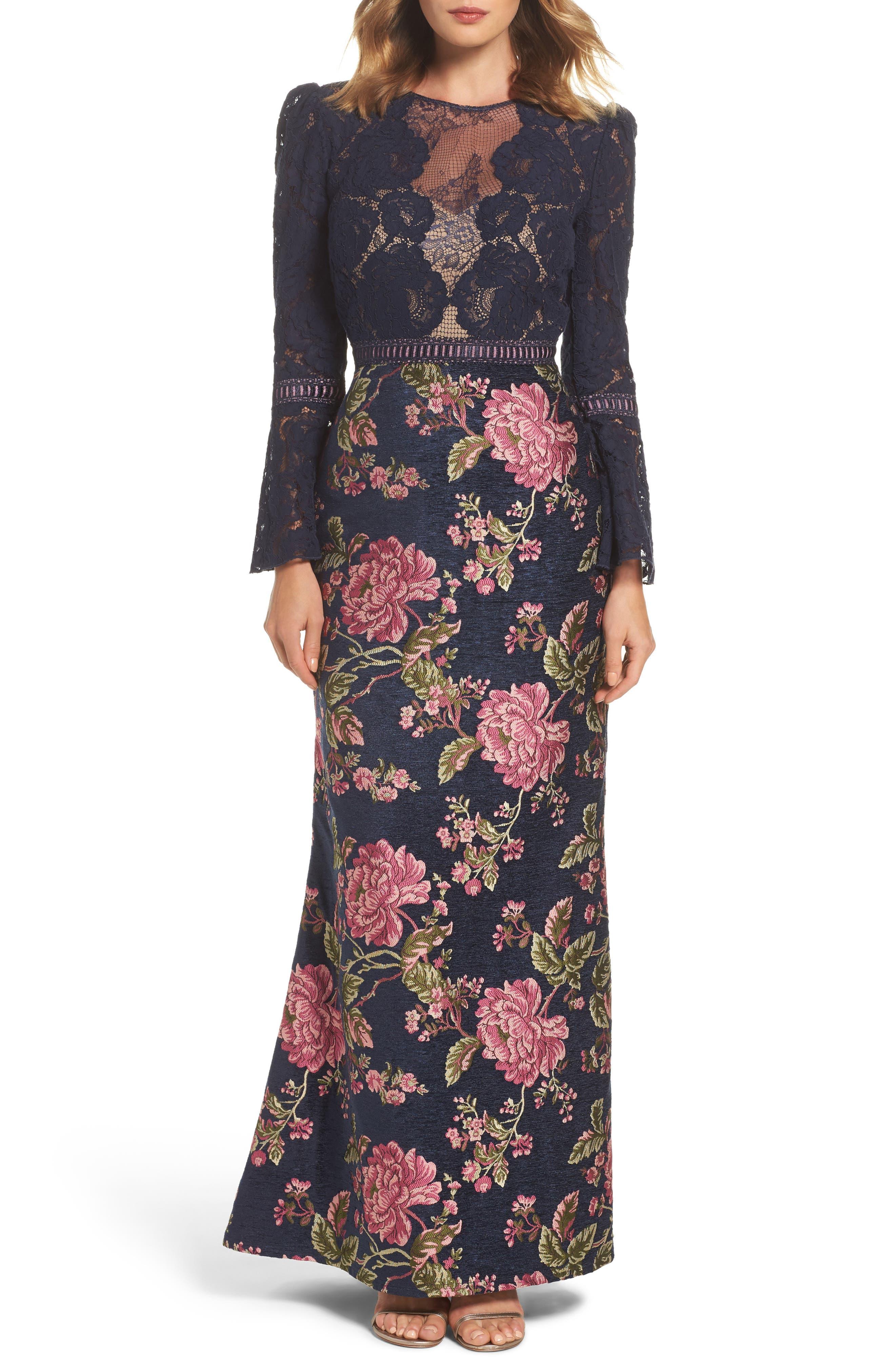 Tadashi Shoji Lace Bodice Brocade Gown