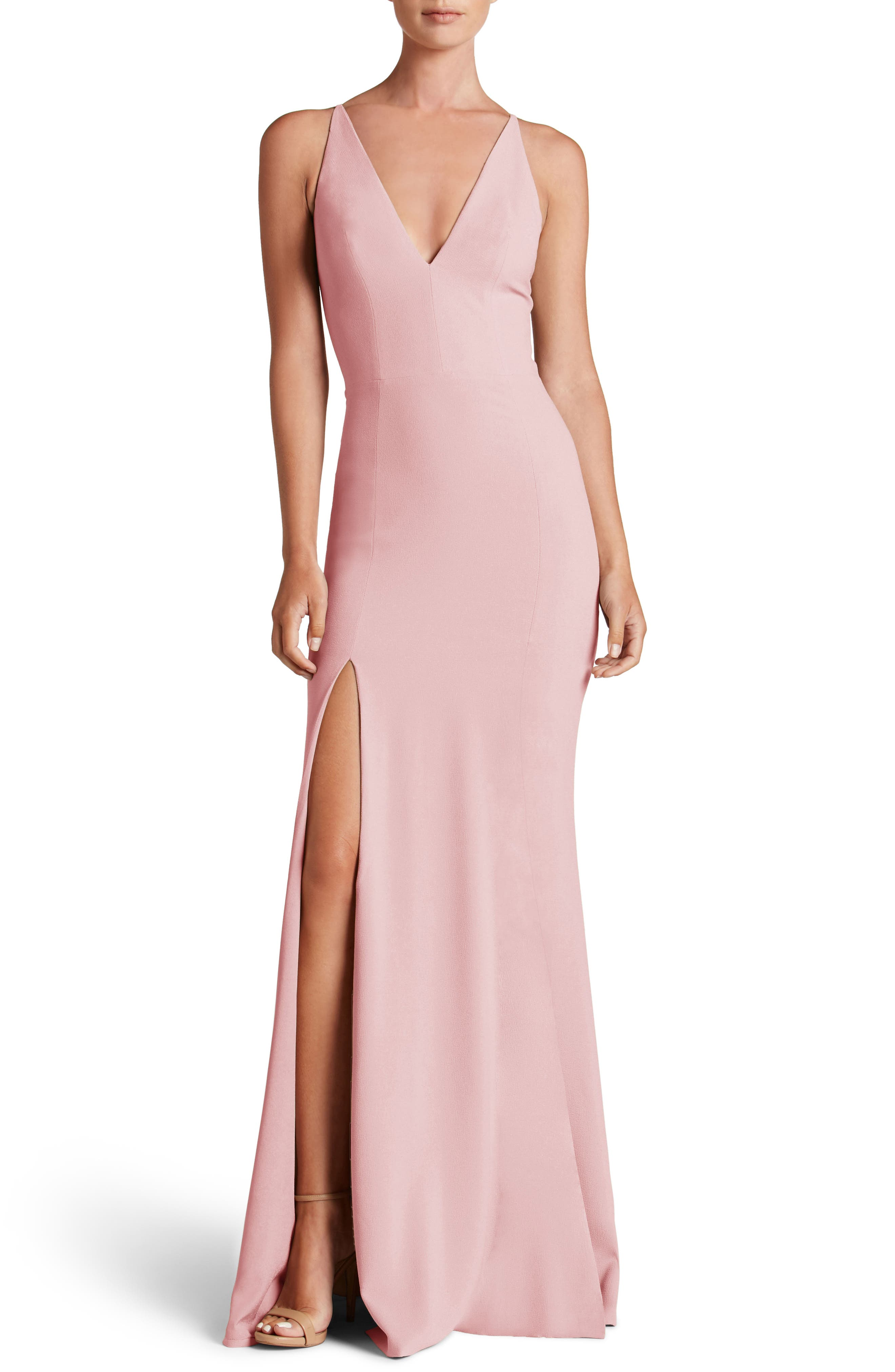 Dress the Population Iris Slit Crepe Gown