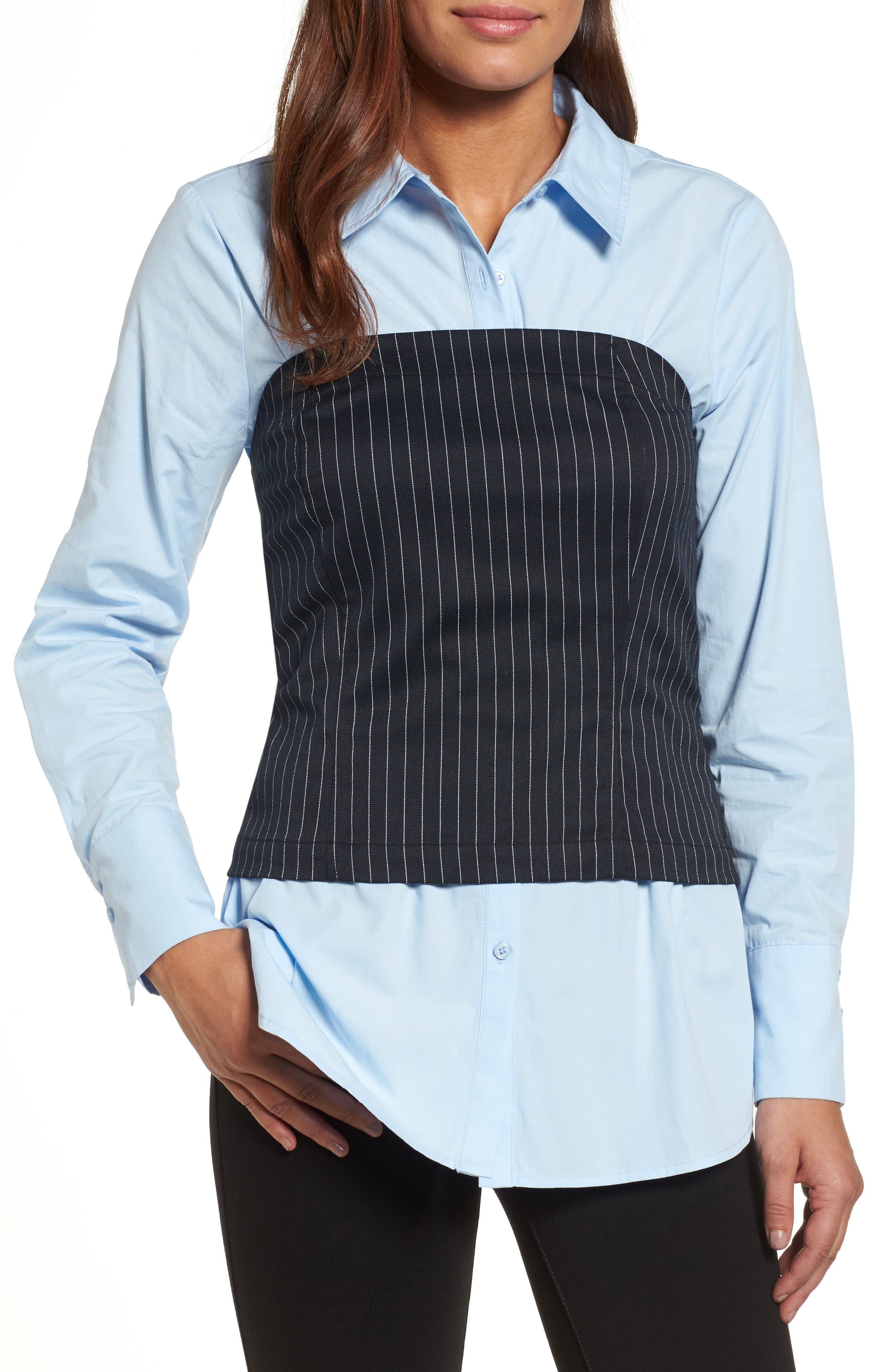 Pleione Menswear Bustier Shirt (Regular & Petite)