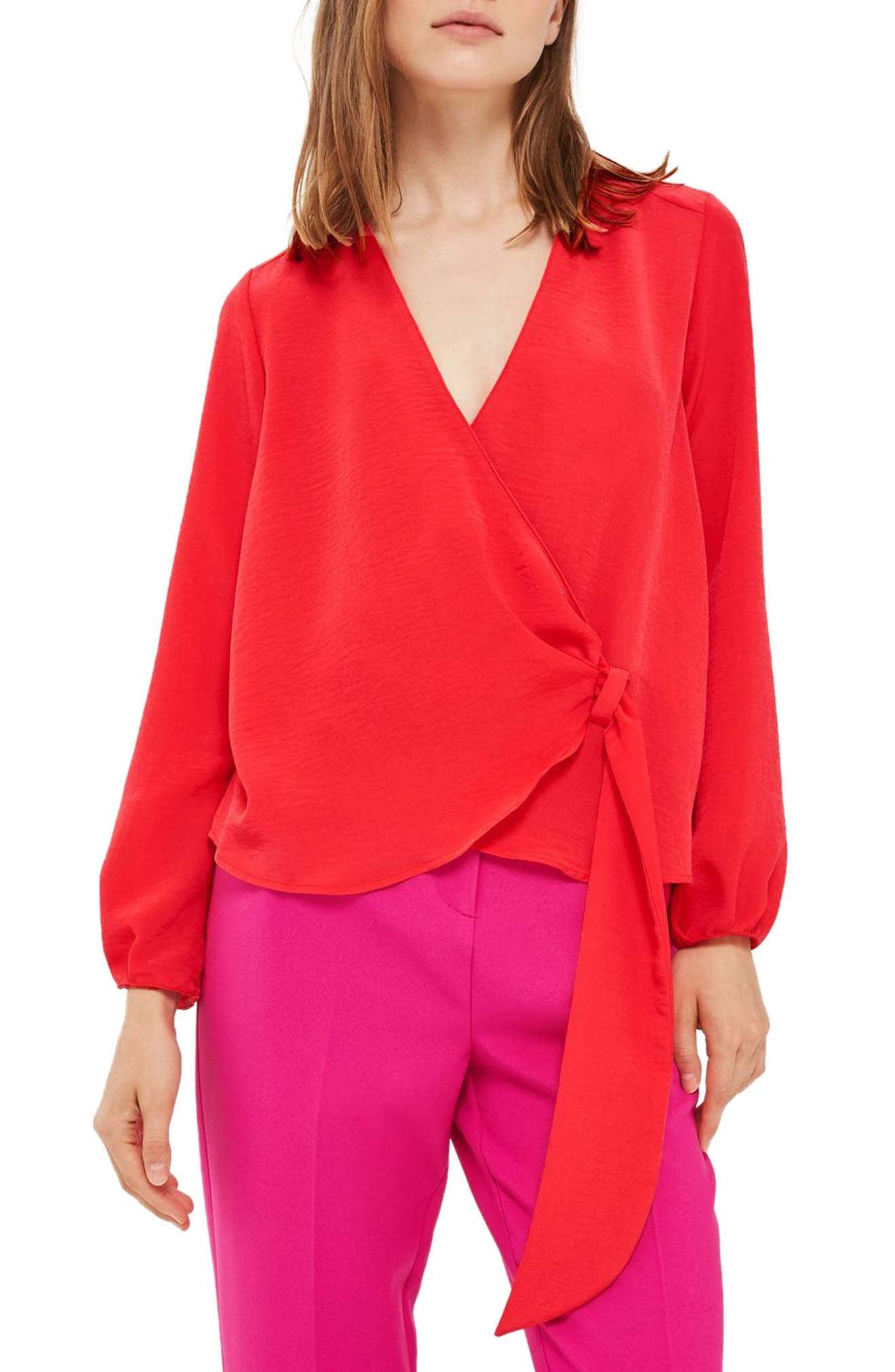Topshop Wrap Tuck Blouse