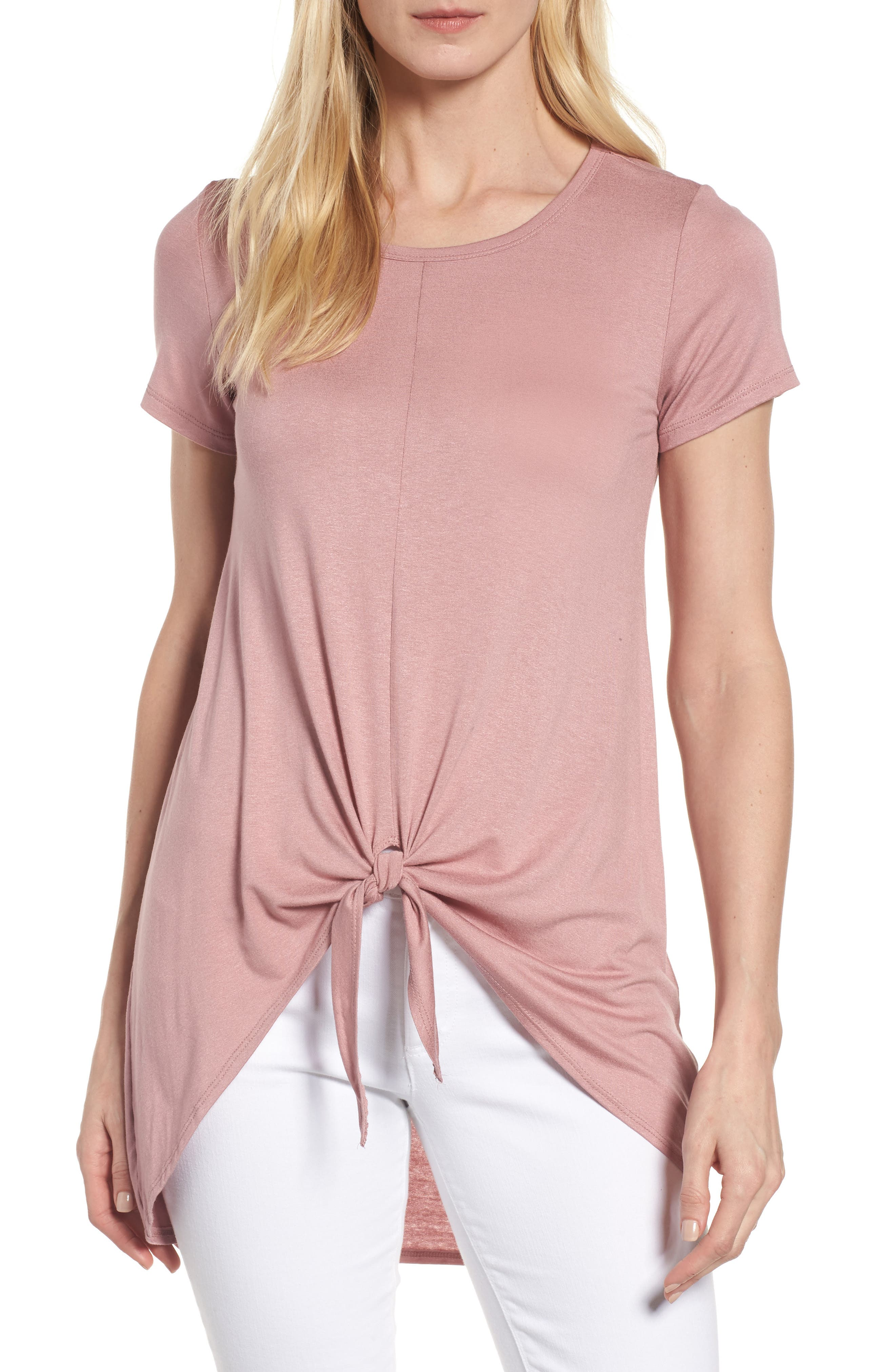 Bobeau Tie Front High/Low Tee (Regular & Petite)