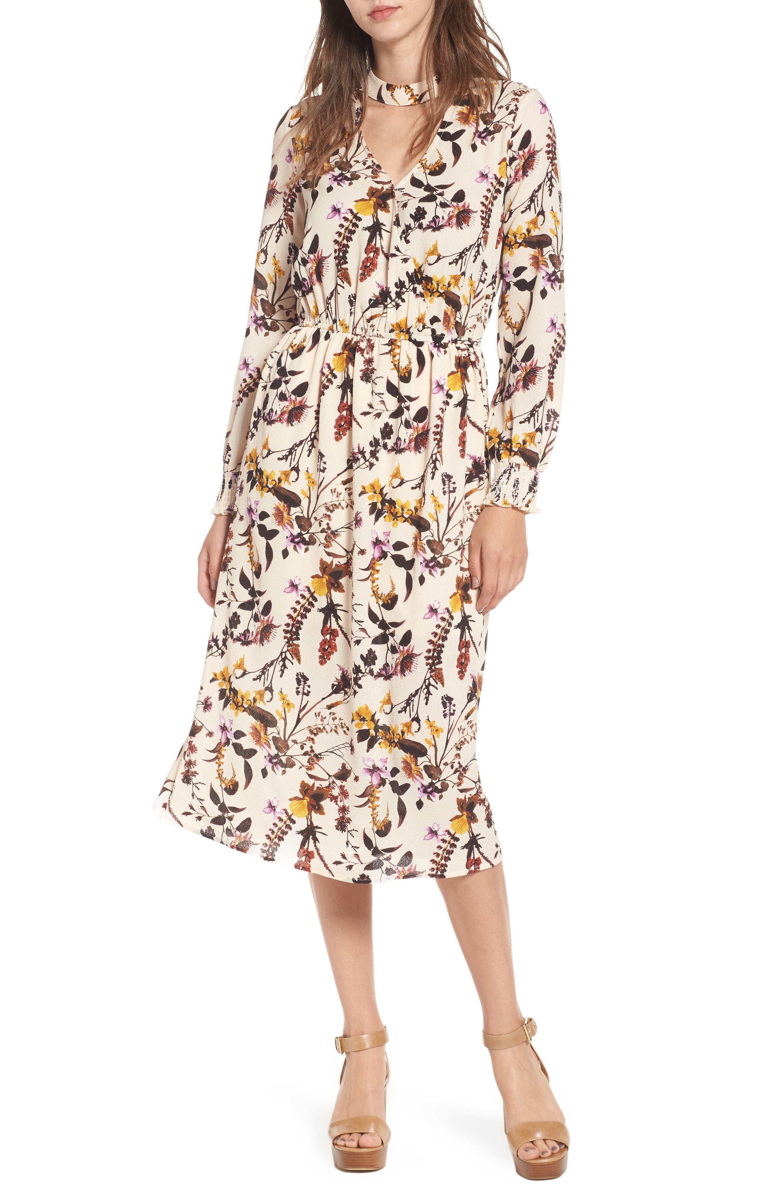 Love, Fire Gigi Floral Surplice Midi Dress