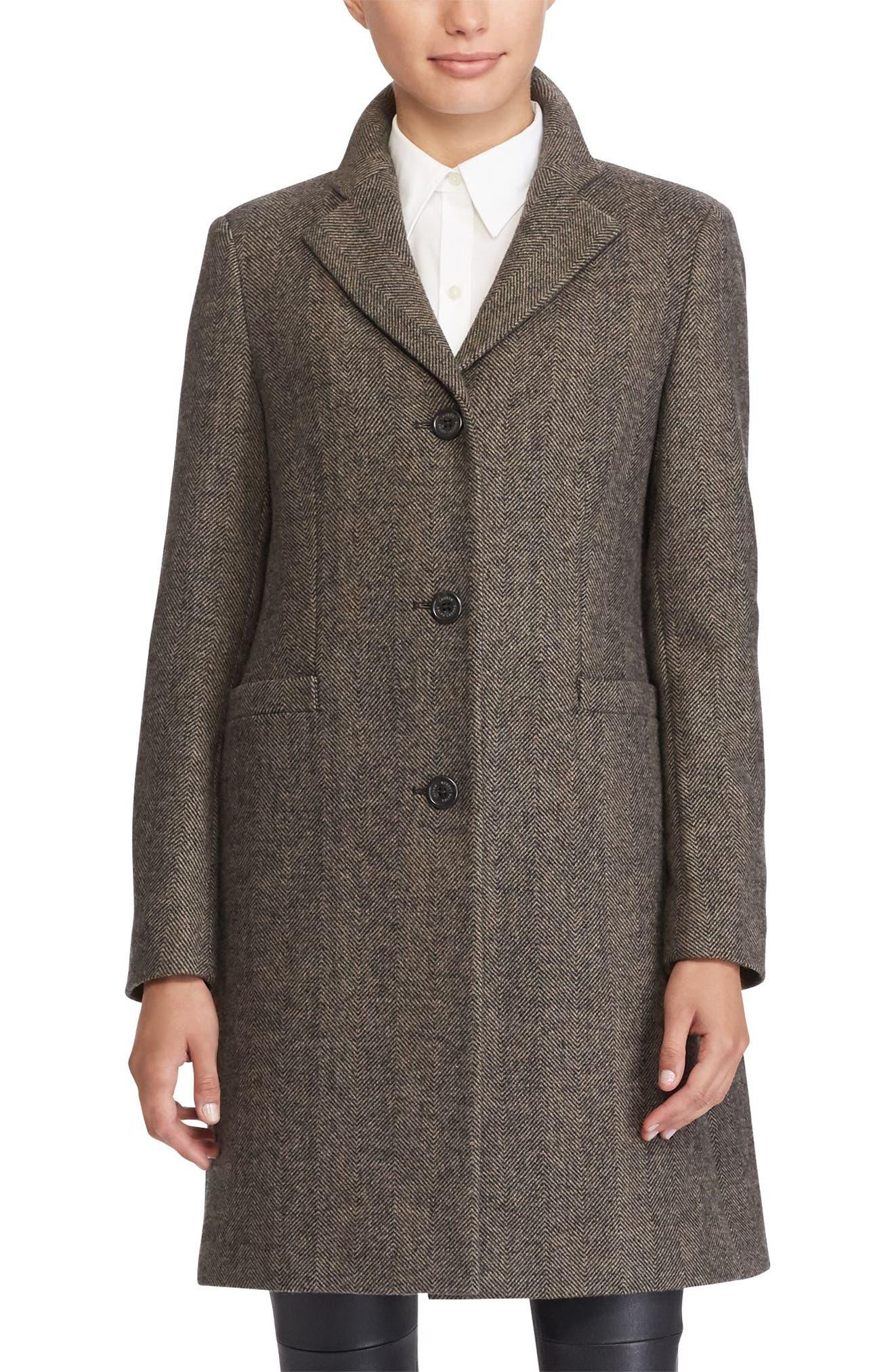 Main Image - Lauren Ralph Lauren Wool Blend Reefer Coat (Regular & Petite)