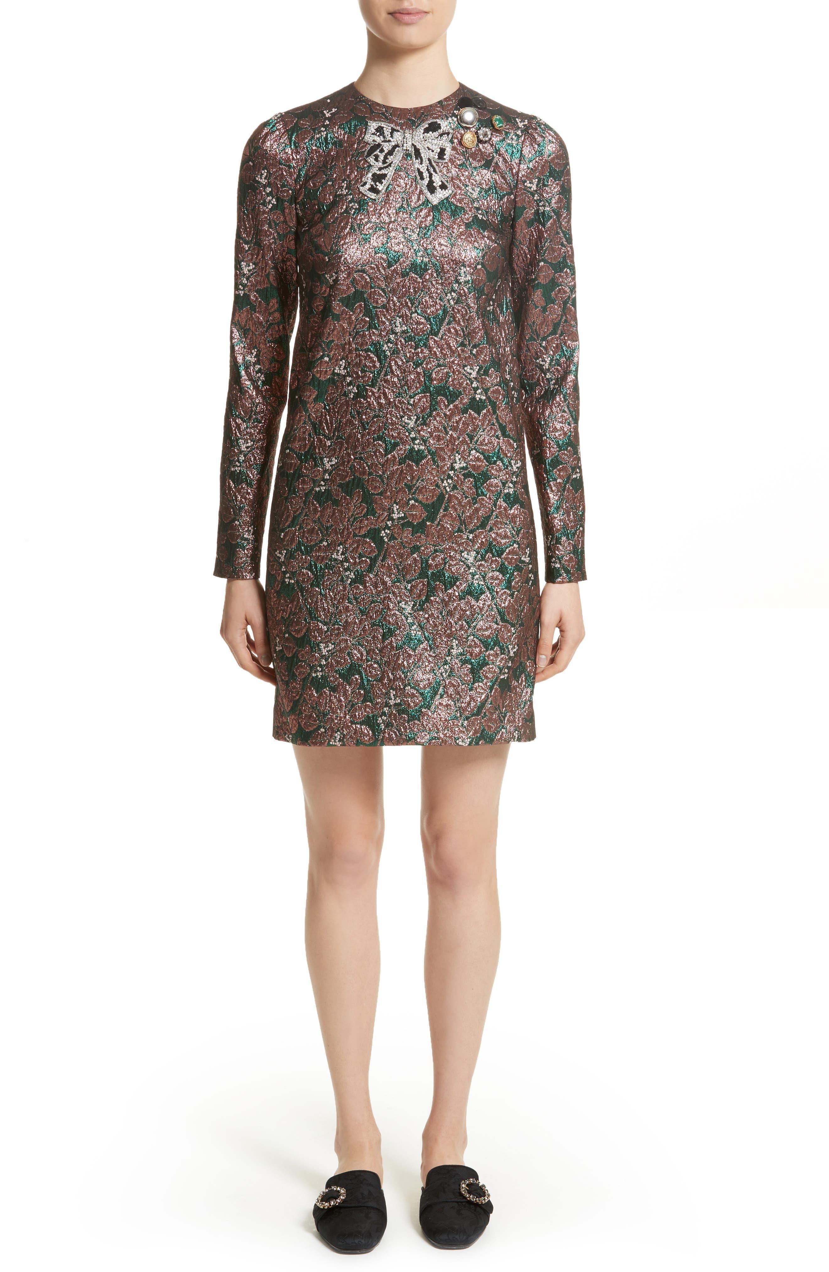 Dolce&Gabbana Embellished Metallic Jacquard Minidress