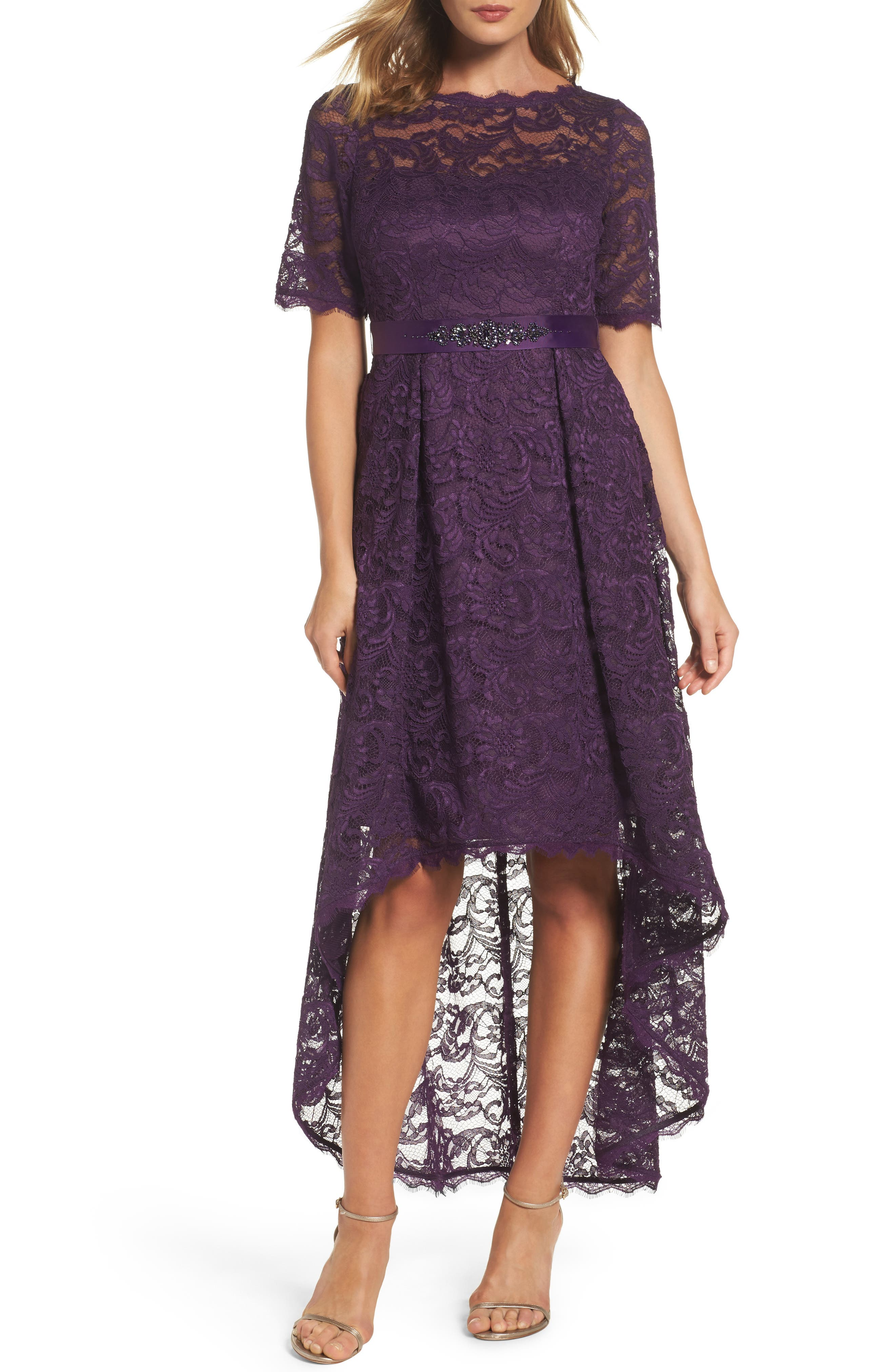 Adrianna Papell High/Low Lace Dress