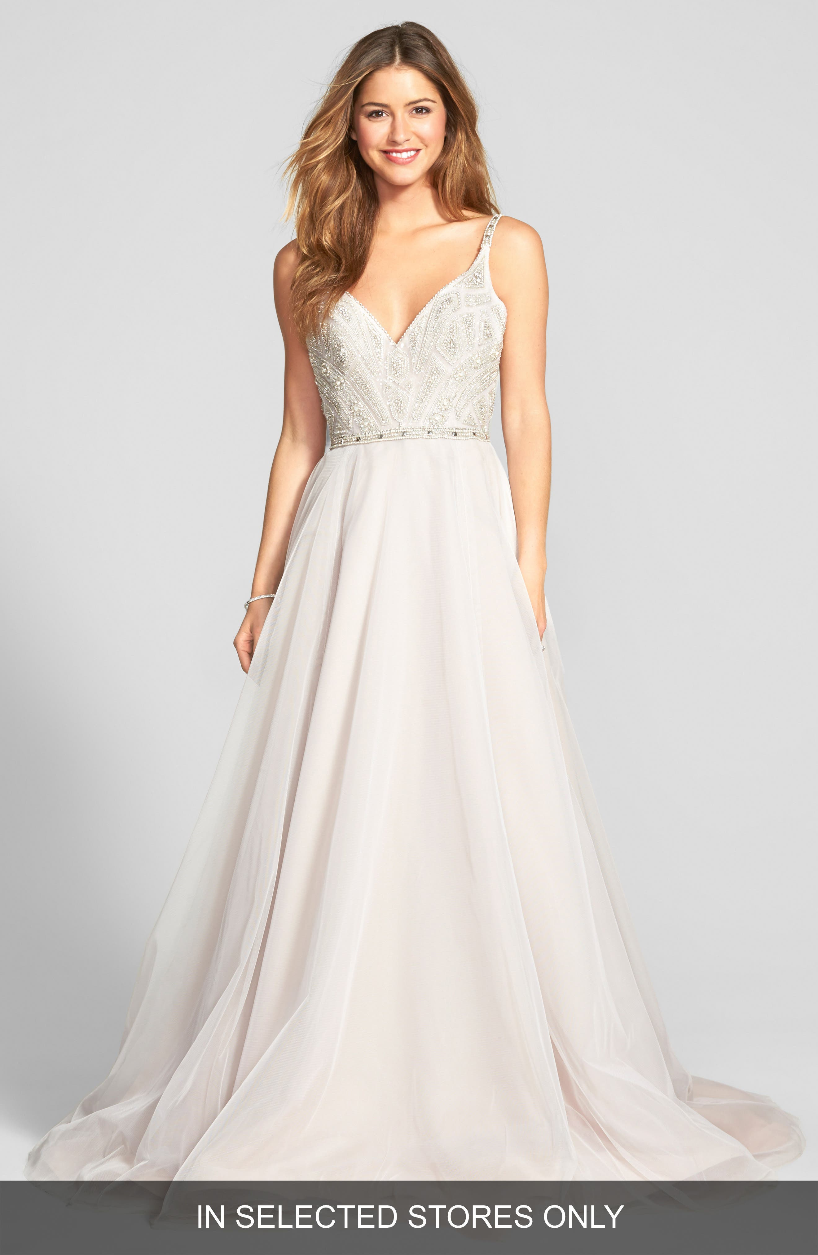 Hayley Paige 'Roxanne' Beaded Bodice Gown (In Stores Only)
