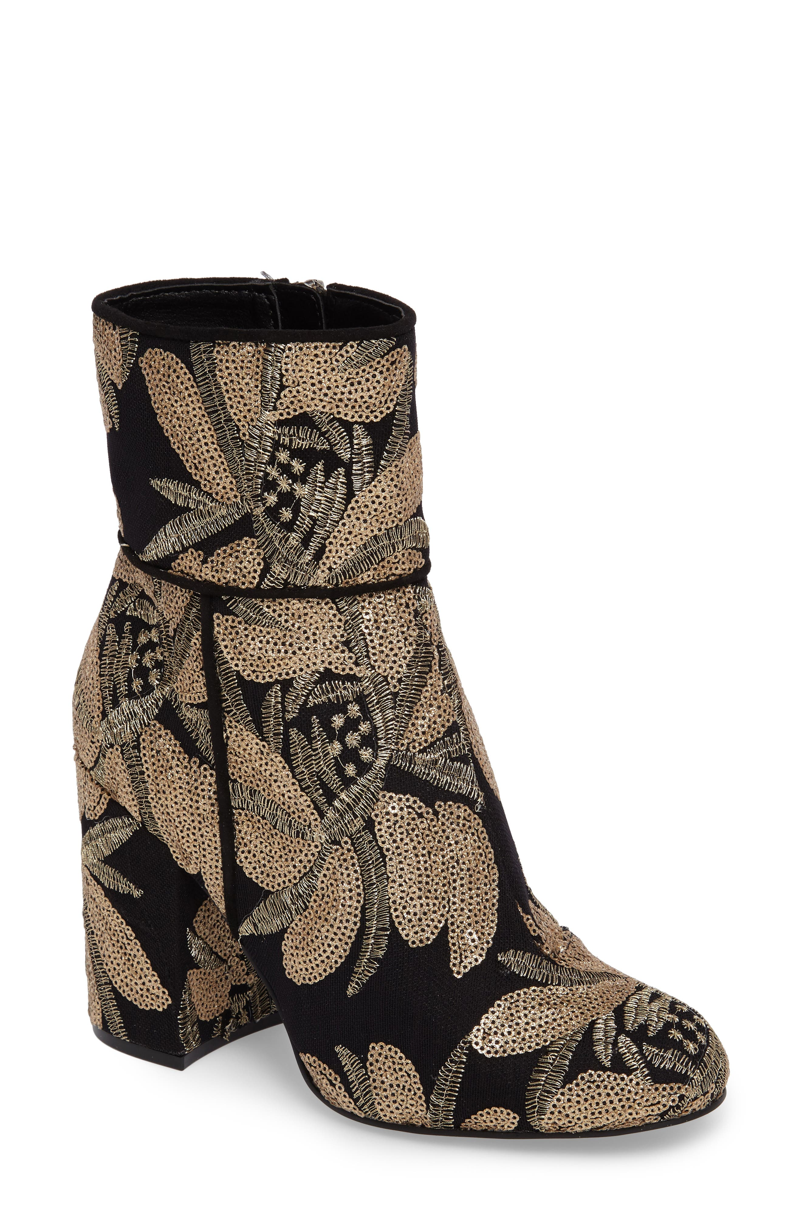 Steve Madden Goldie Sequin Embroidered Bootie (Women)