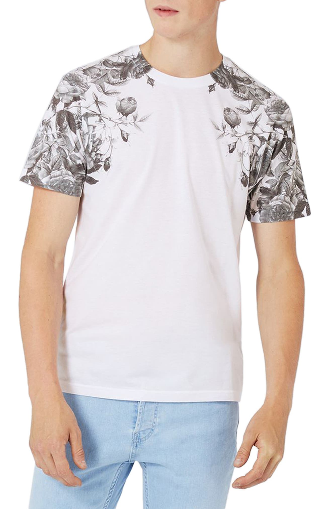 Topman Rose Print T-Shirt