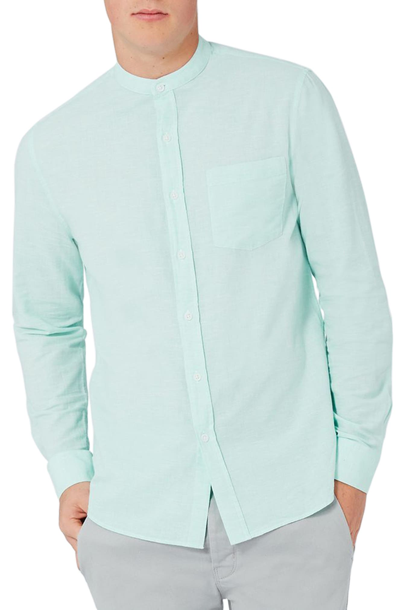 Topman Band Collar Slub Woven Shirt