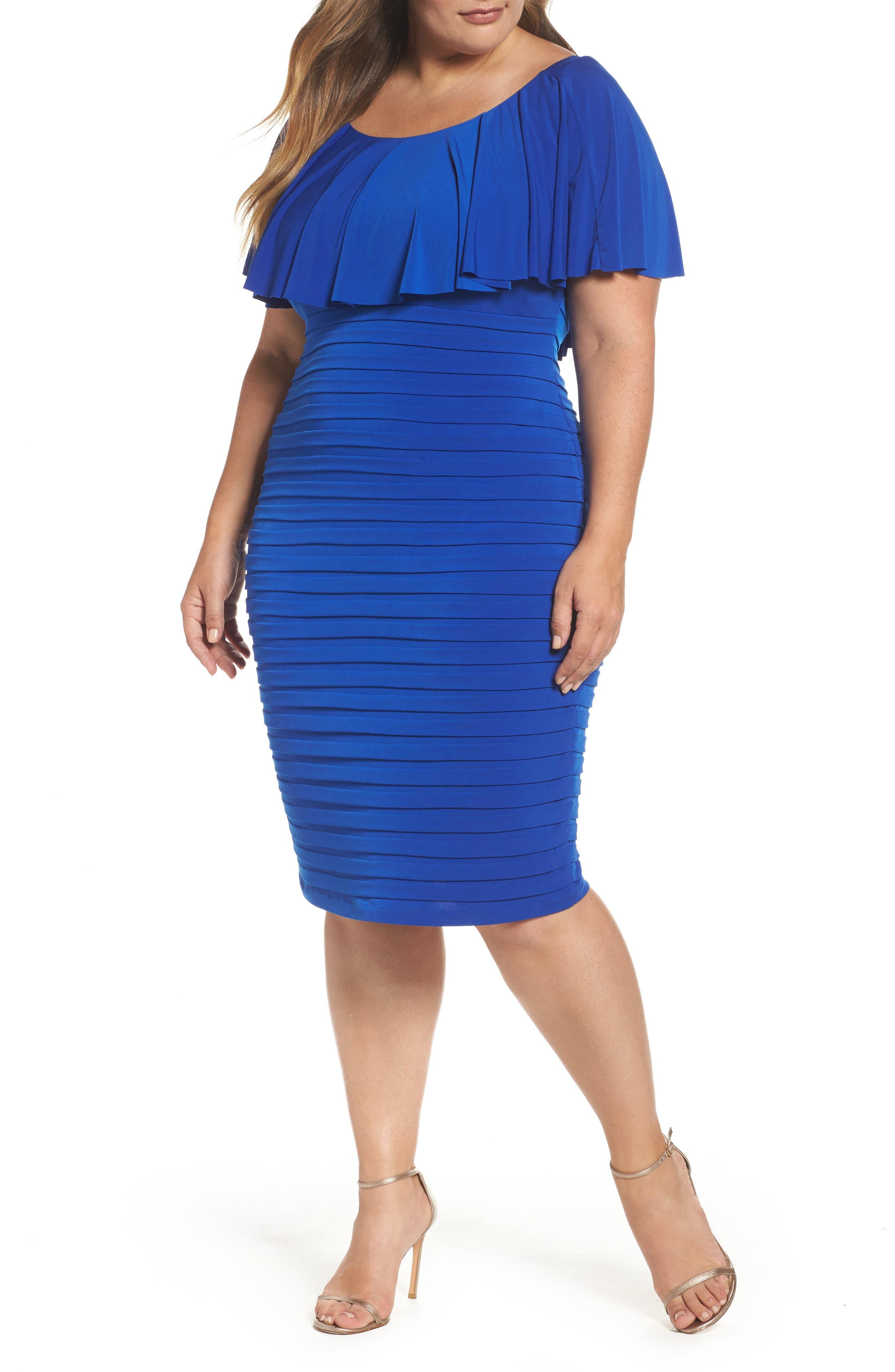 London Times Shutter Pleat Jersey Dress (Plus Size)