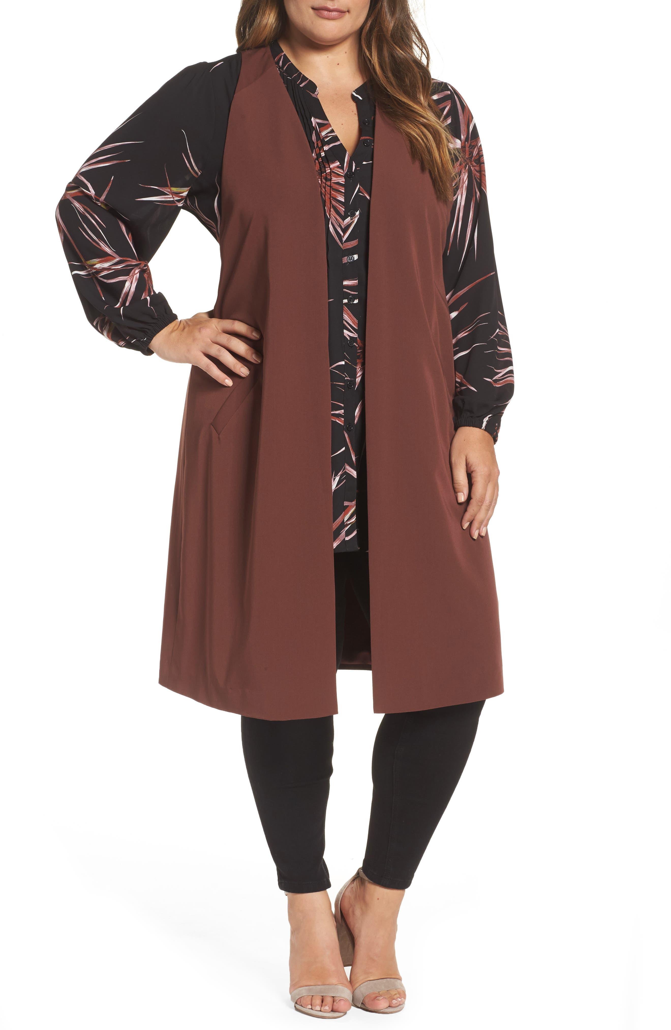 Melissa McCarthy Seven7 Open Front Longline Vest (Plus Size)