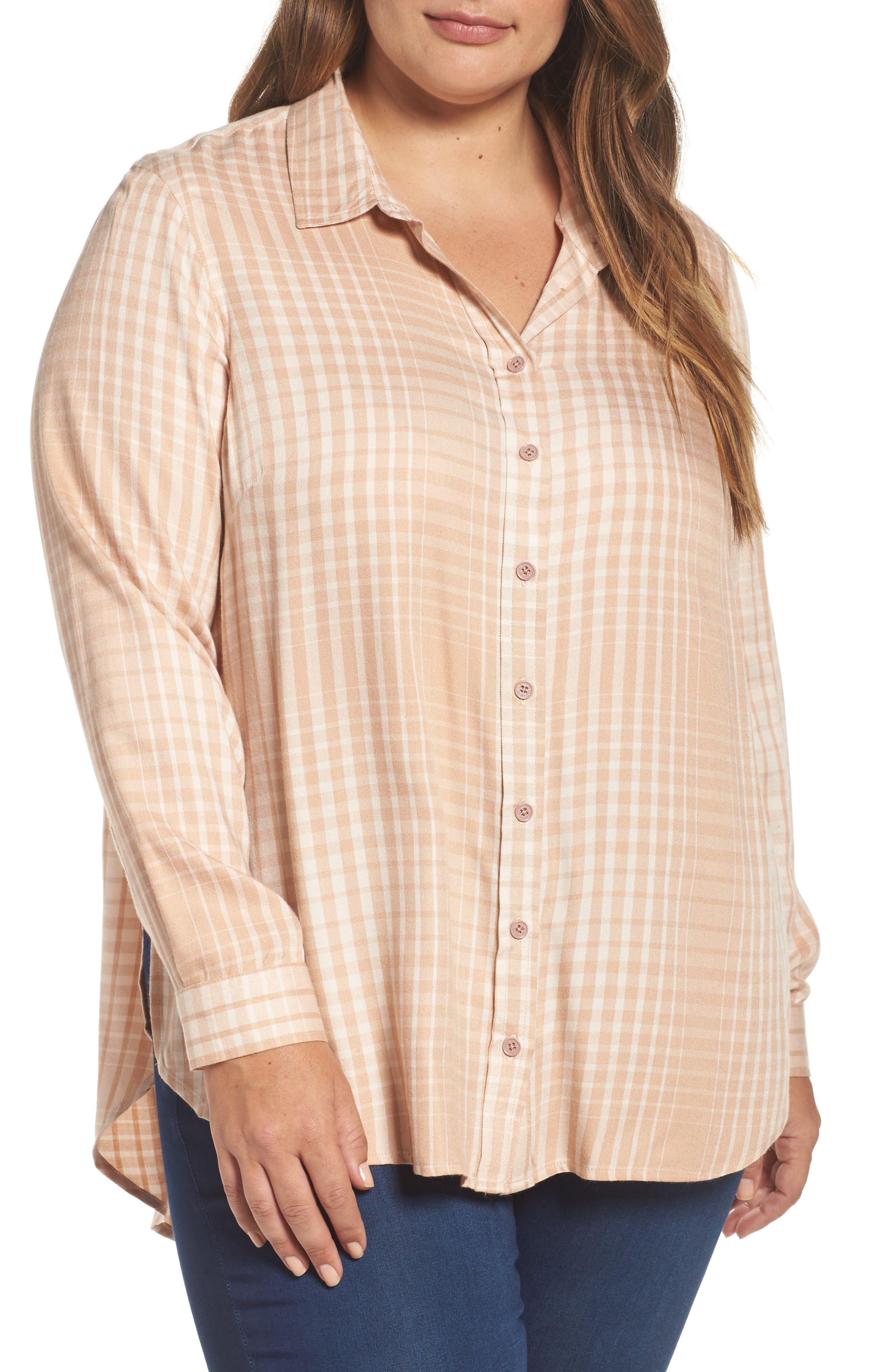 Melissa McCarthy Seven7 Plaid Side Split Shirt (Plus Size)