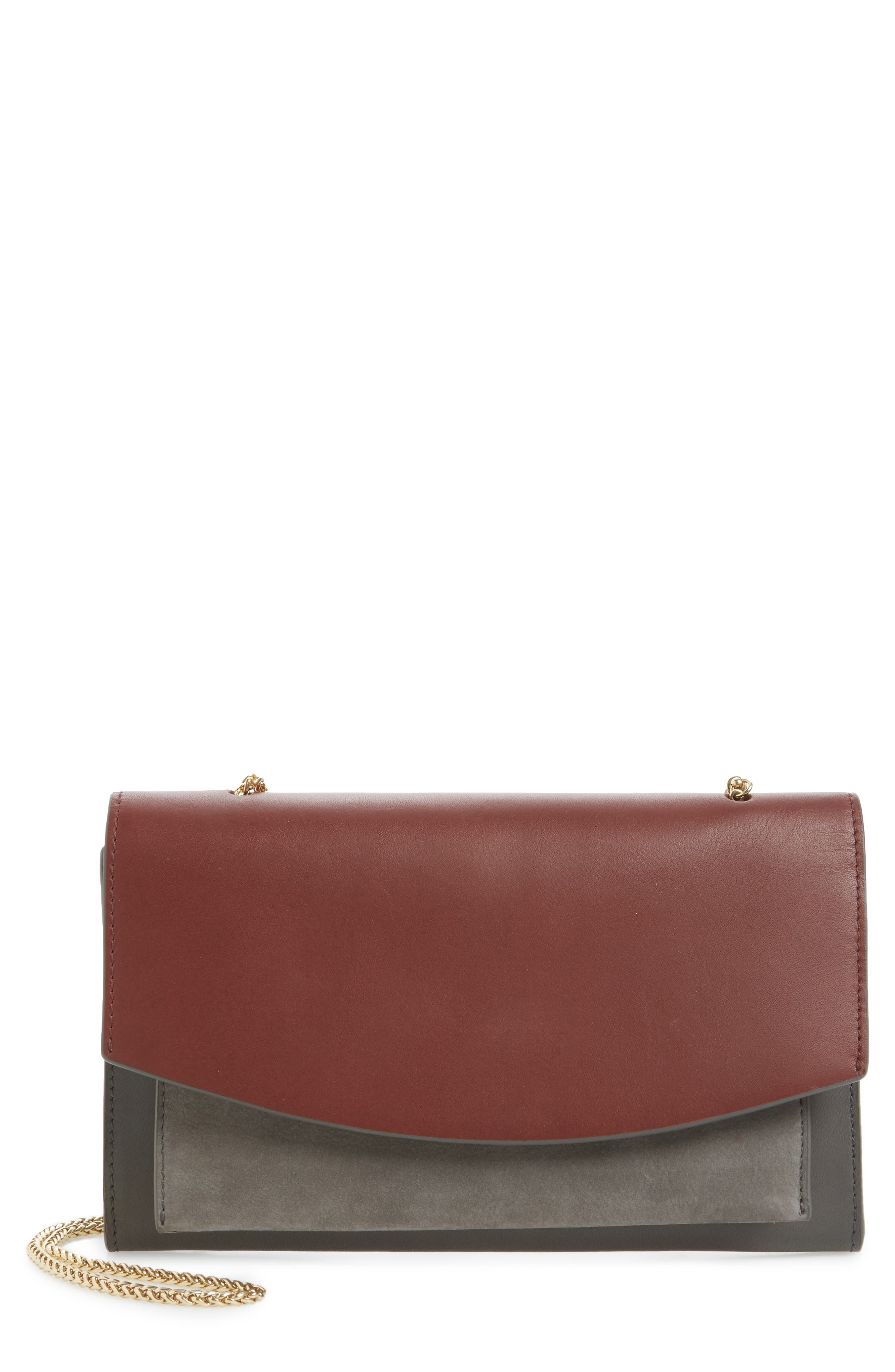 Skagen Eryka Leather Envelope Clutch with Detachable Strap