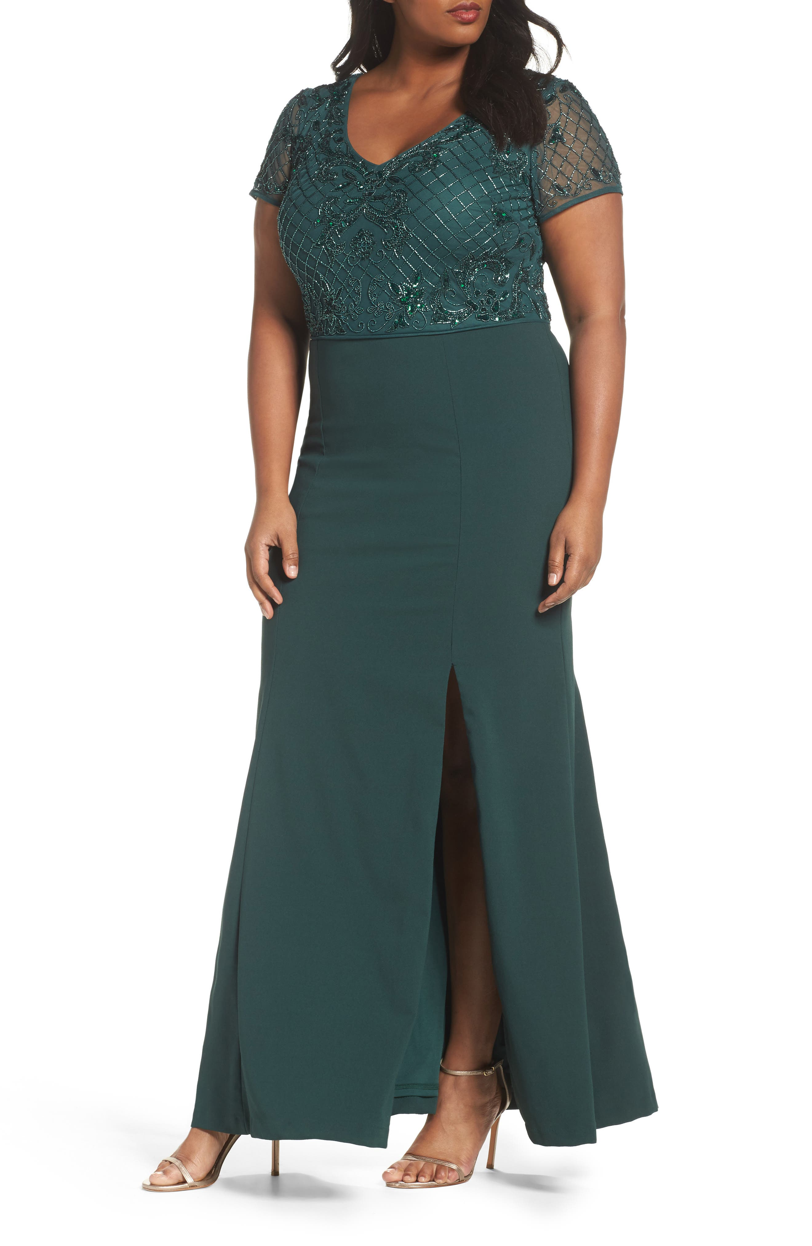 Adrianna Papell Beaded Crepe Gown (Plus Size)