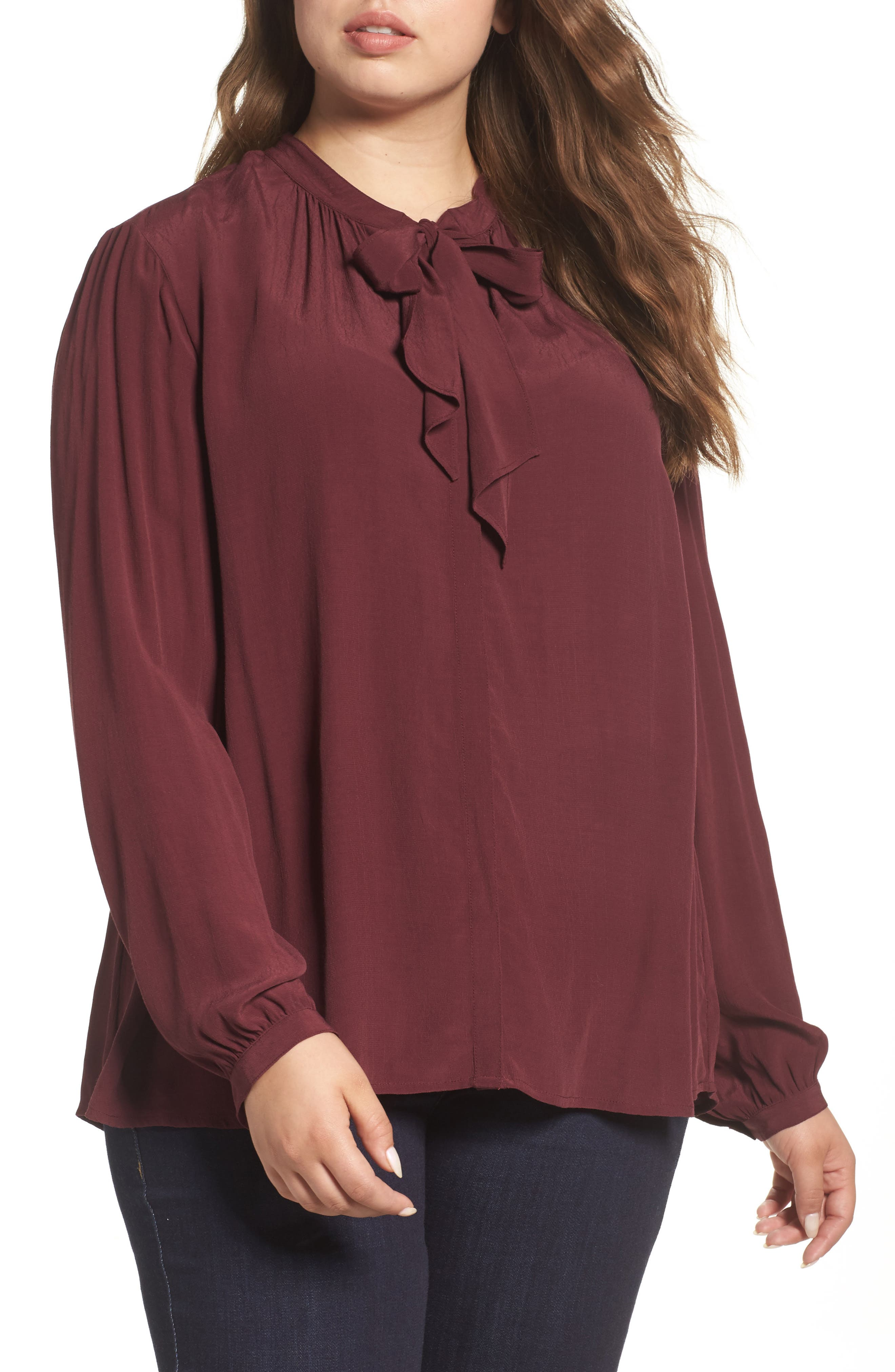 Lucky Brand Tie Neck Blouse (Plus Size)