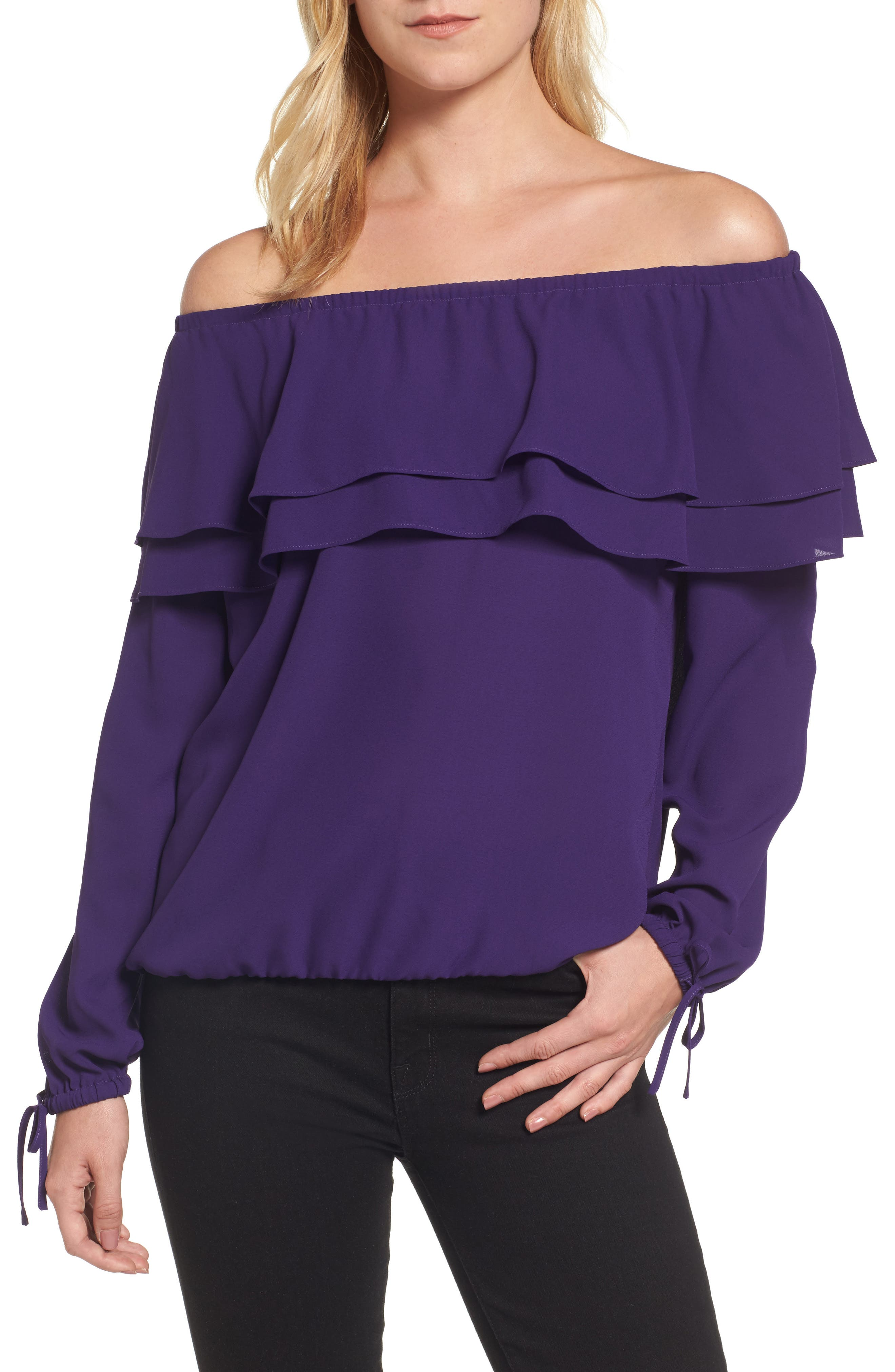 MICHAEL Michael Kors Ruffle Off the Shoulder Top