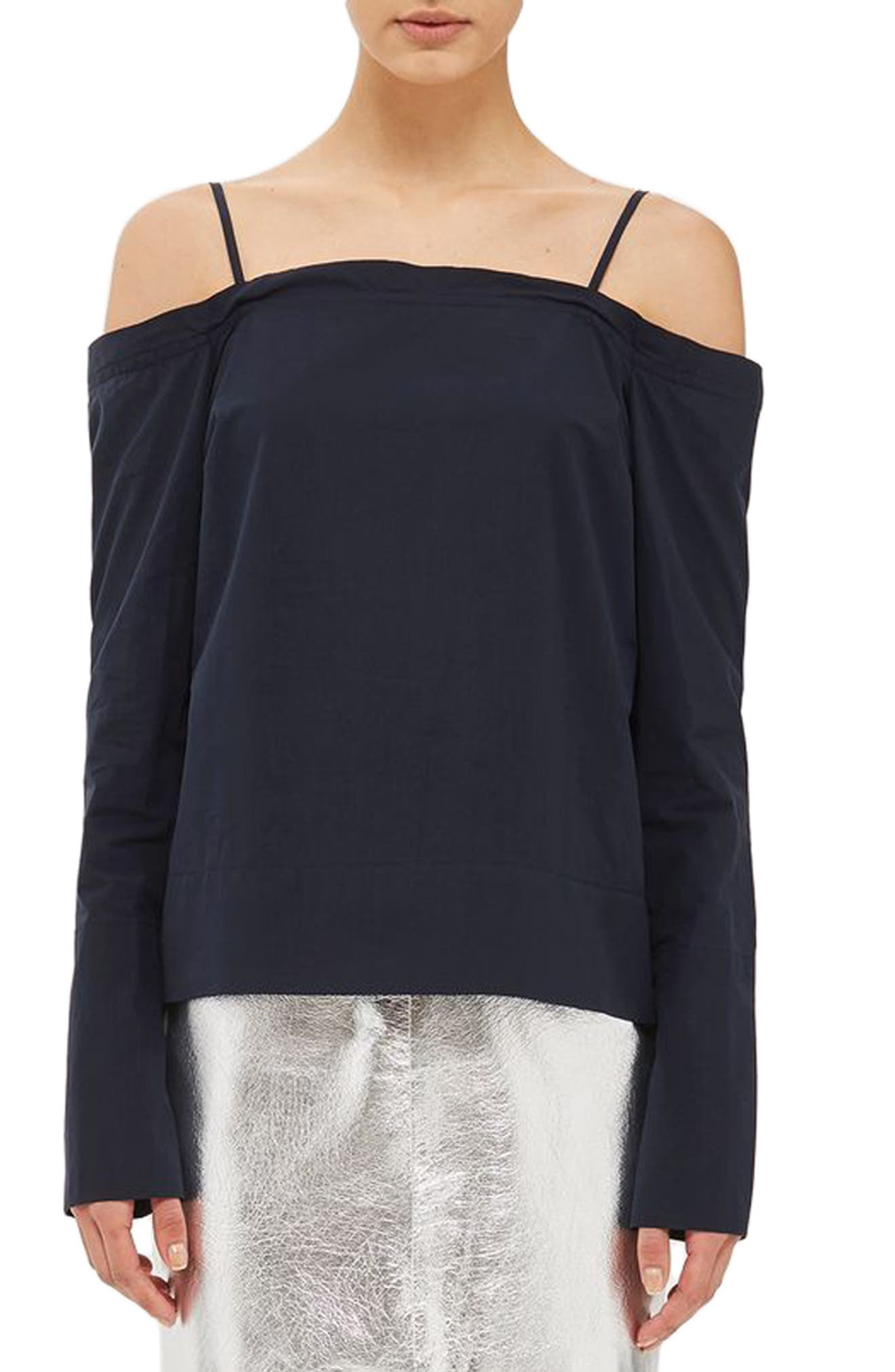 Topshop Boutique Tie Back Cold Shoulder Top