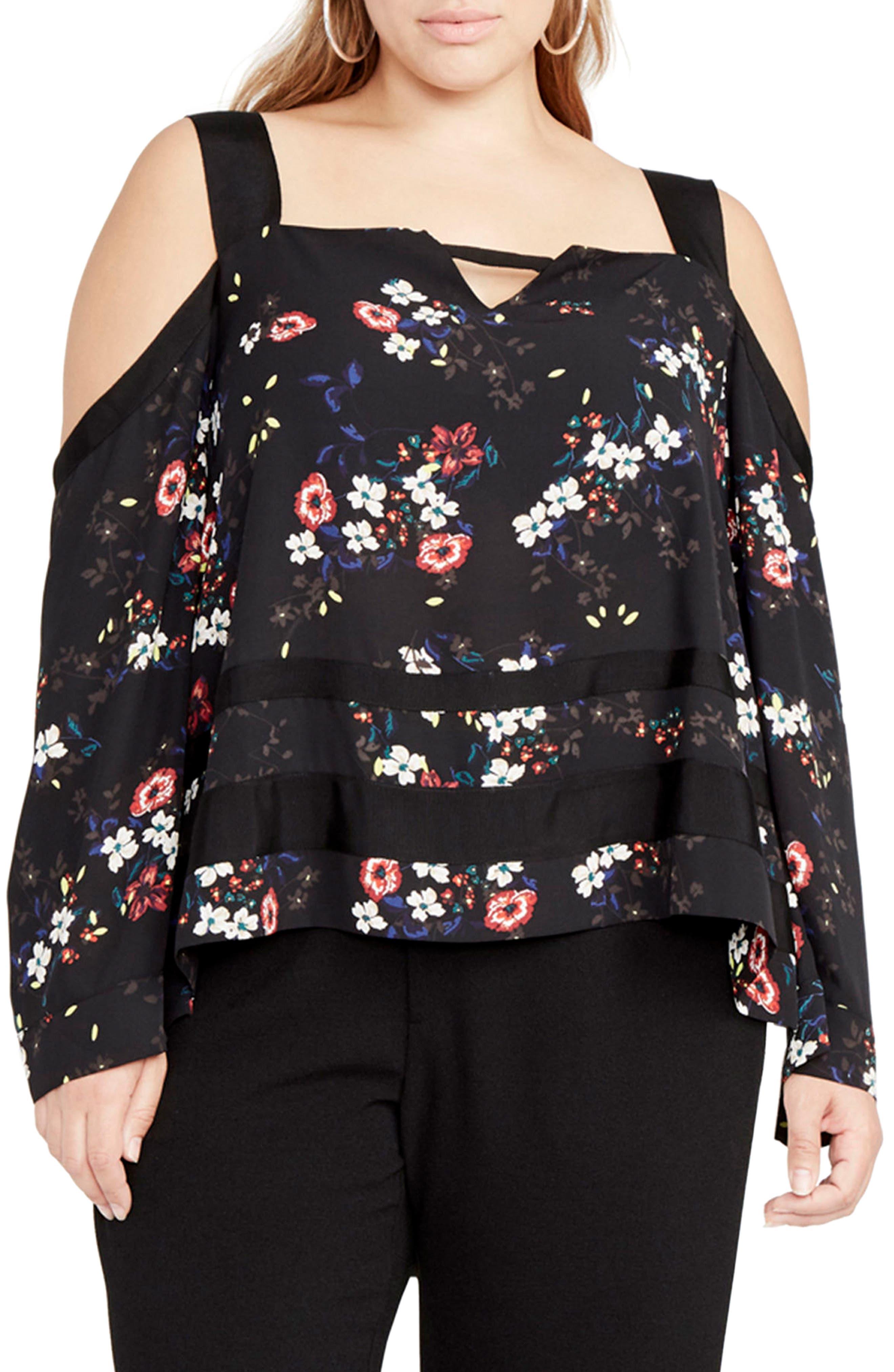 RACHEL Rachel Roy Square Neck Cold Shoulder Top (Plus Size)