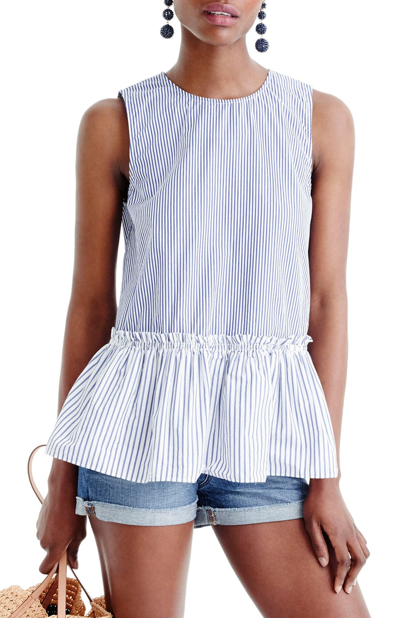 J.Crew Button Back Stripe Peplum Top (Regular & Petite)