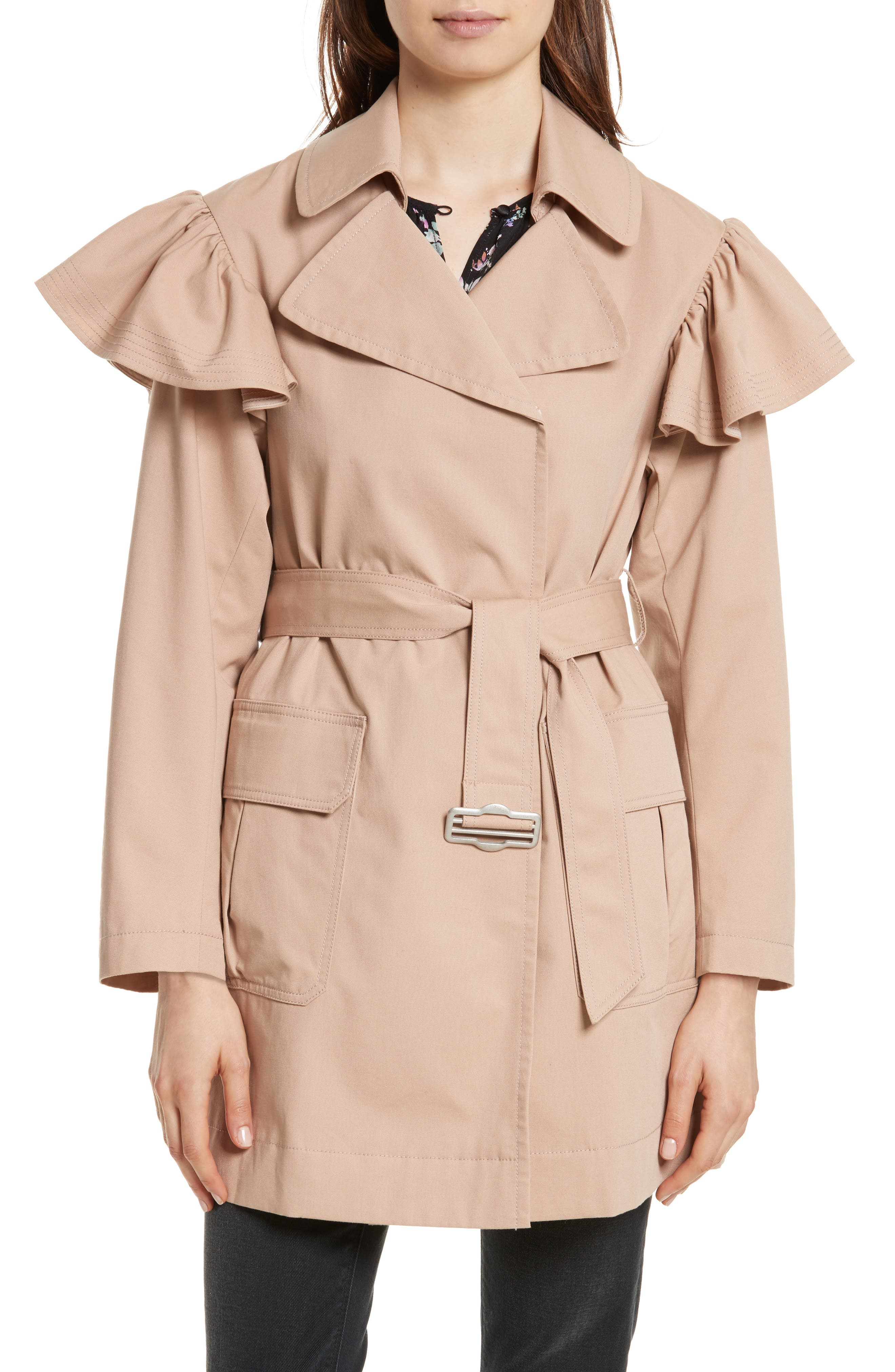 Rebecca Taylor Ruffle Trim Trench Coat