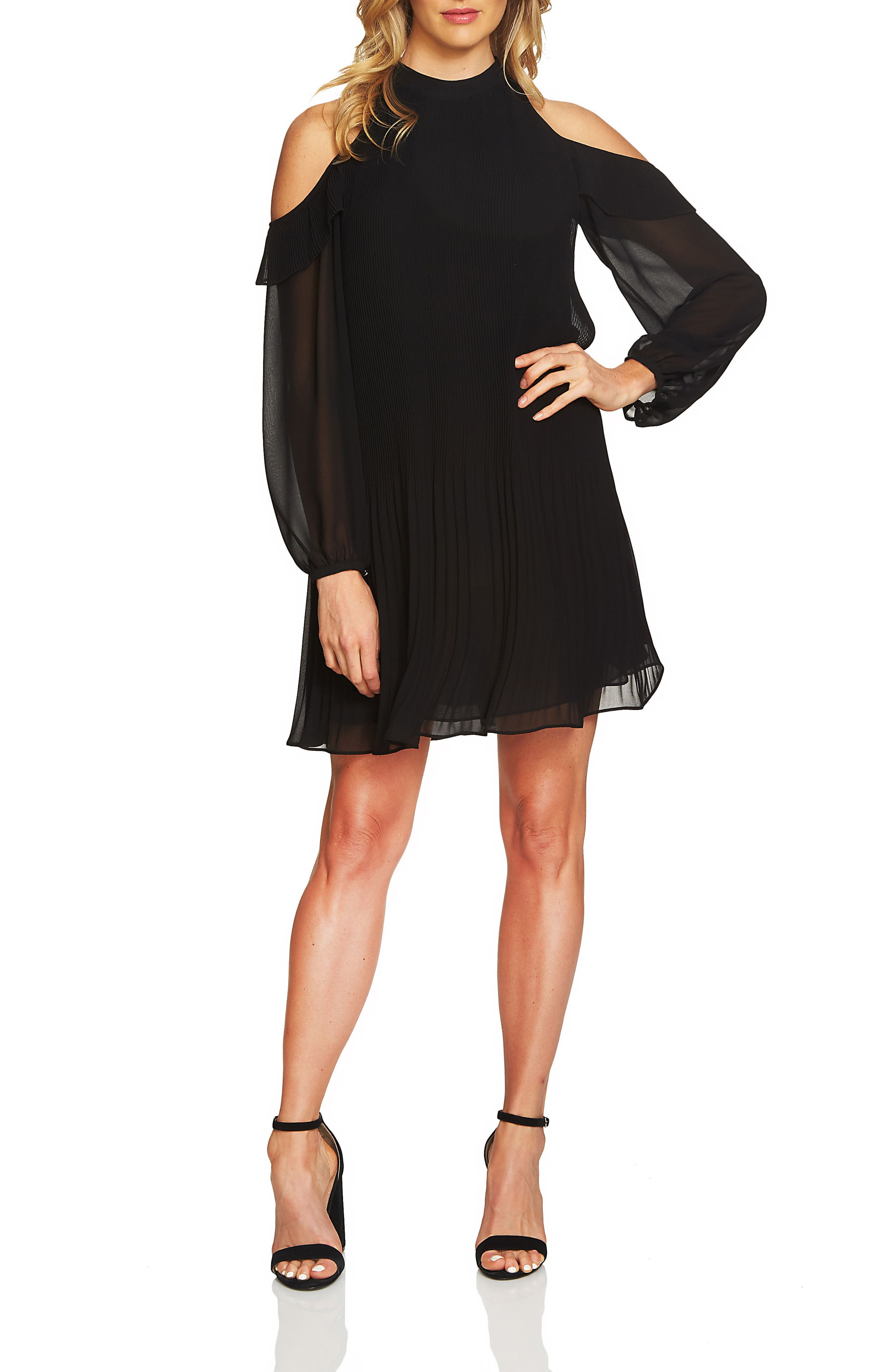 Cece Noelle Cold Shoulder Chiffon Trapeze Dress (Regular & Petite)