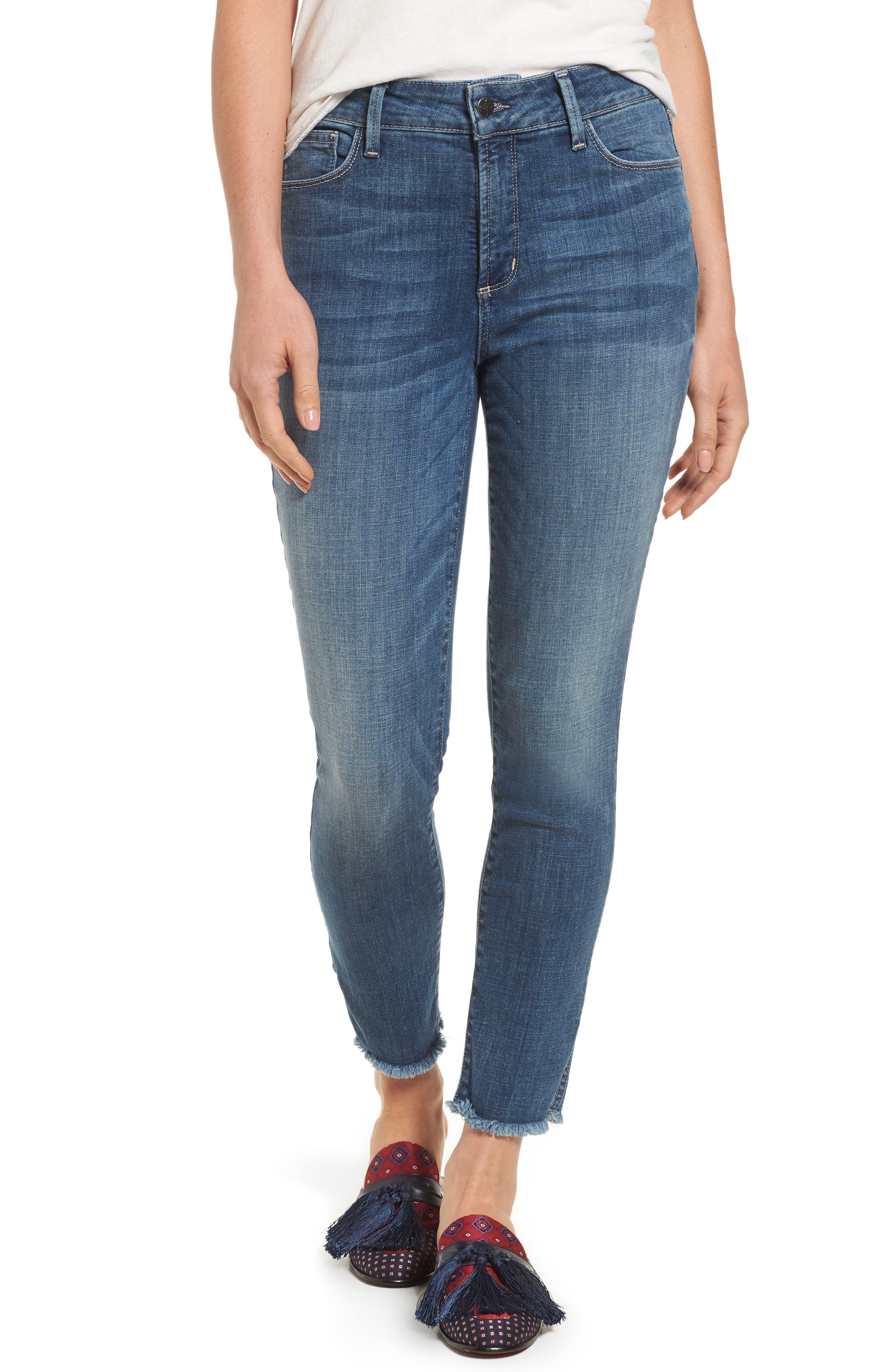 NYDJ Ami Frayed Hem Stretch Skinny Ankle Jeans (Newton)