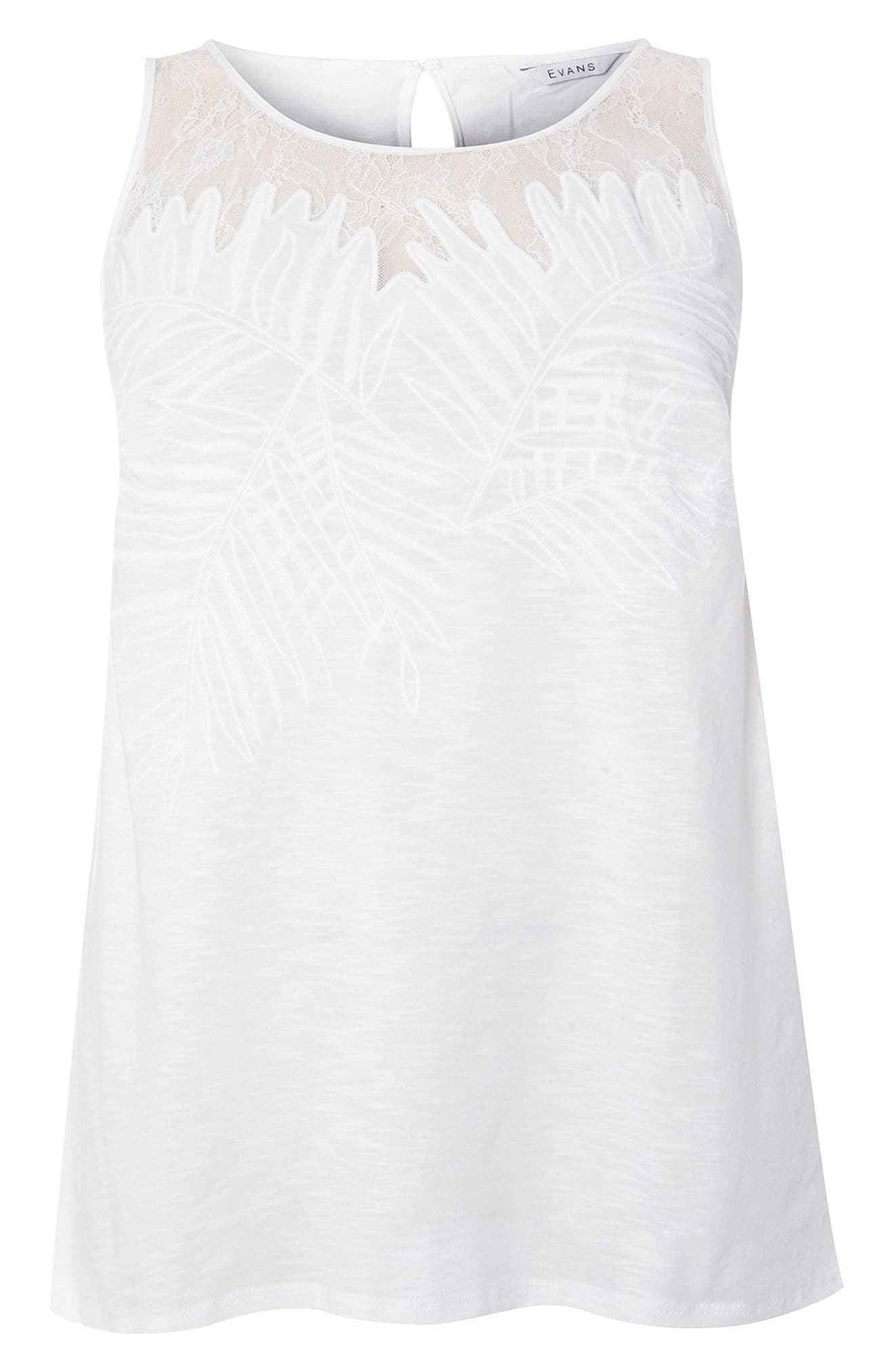 Evans Embroidered Mesh Top (Plus Size)