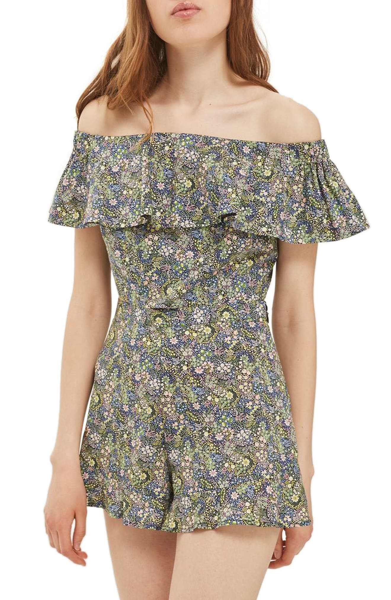 Topshop Limited Edition Liberty Floral Off the Shoulder Top