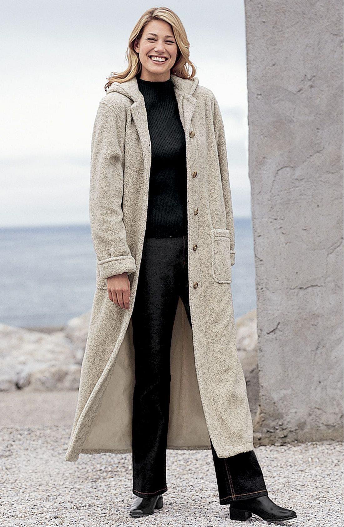 Alternate Image 1 Selected - Hooded Berber Fleece Coat