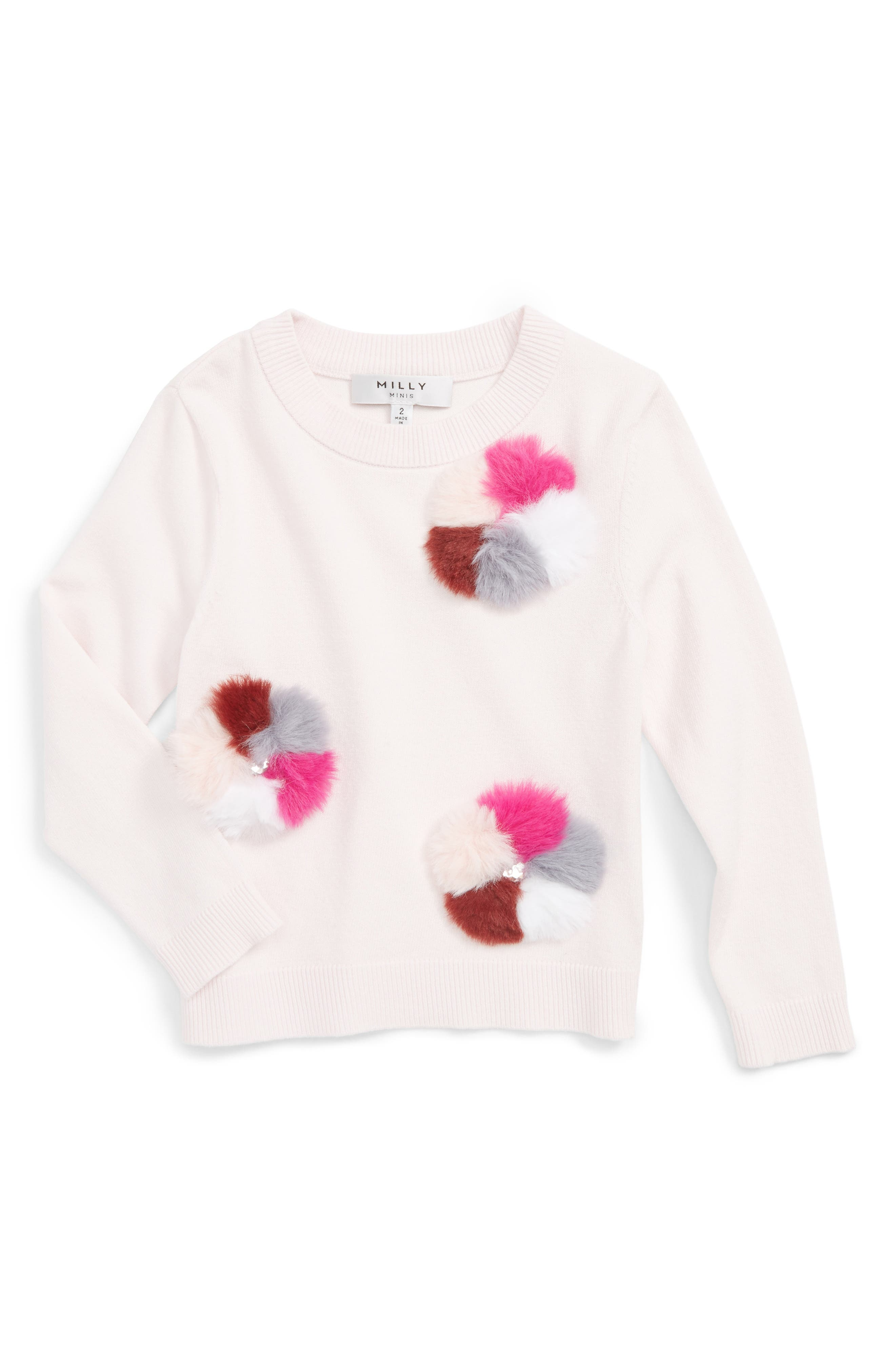 Milly Minis Pompom Embellished Pullover (Toddler Girls, Little Girls & Big Girls)