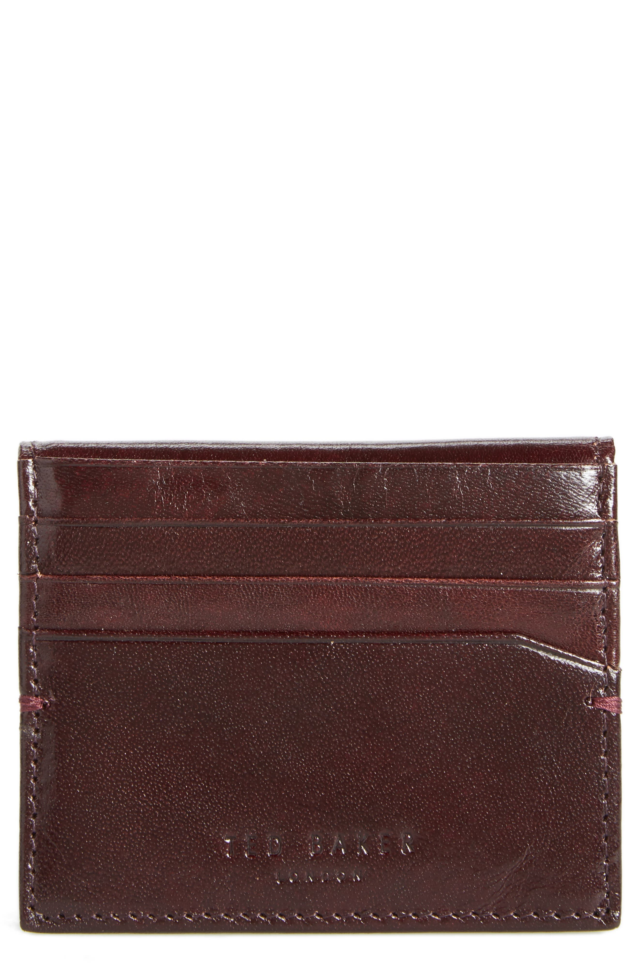 TED BAKER Brights Leather Card Case in Brown