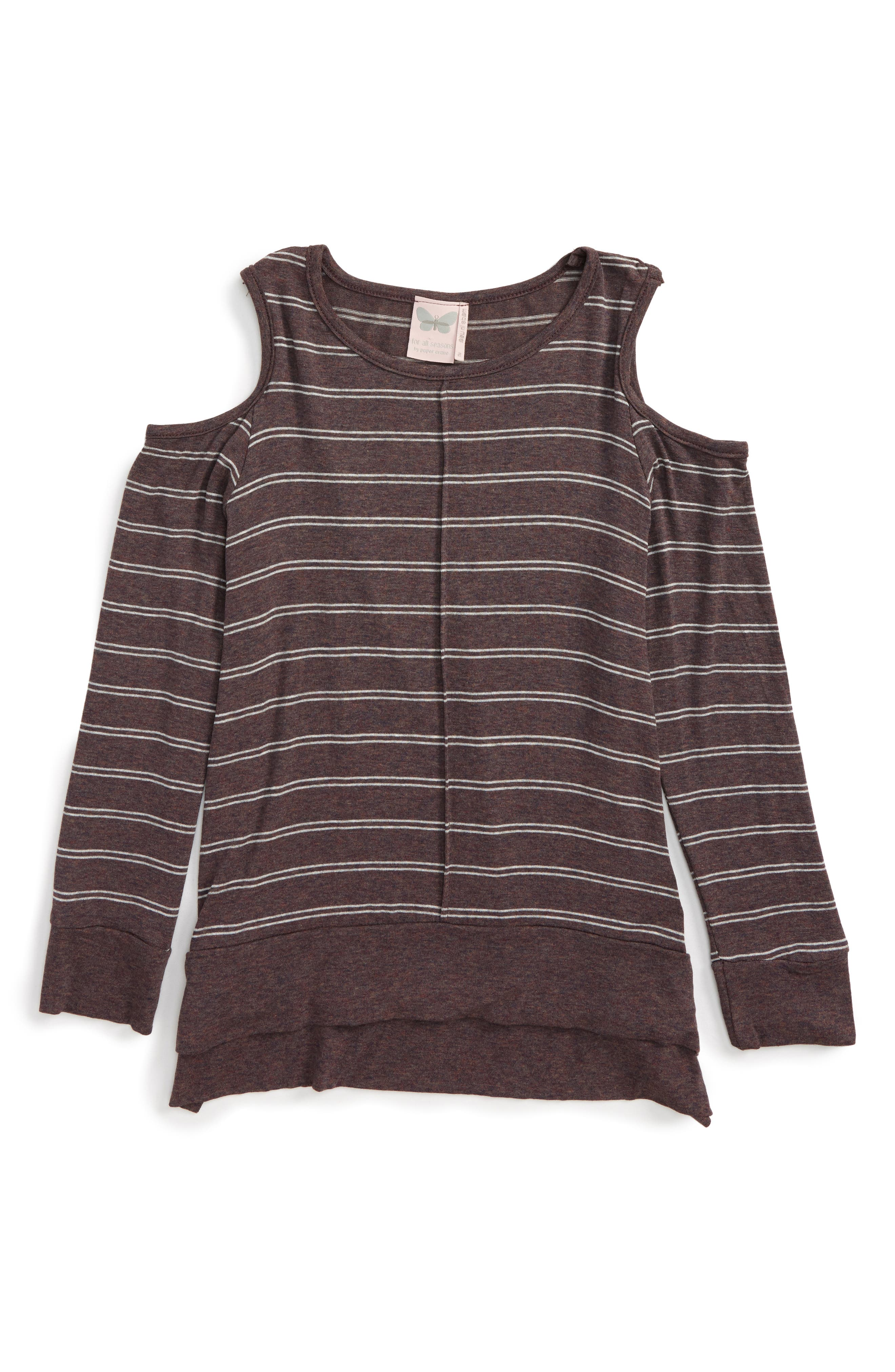 For All Seasons Stripe Cold Shoulder Tee (Big Girls)