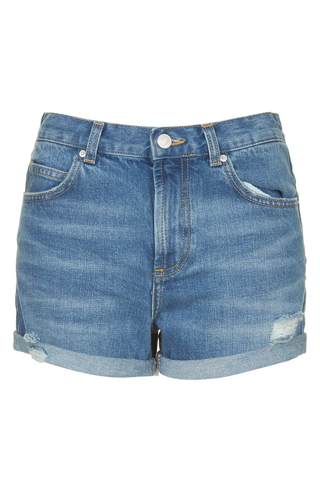 Alternate Image 3  - Topshop Moto 'Rosa' Cuffed Denim Shorts